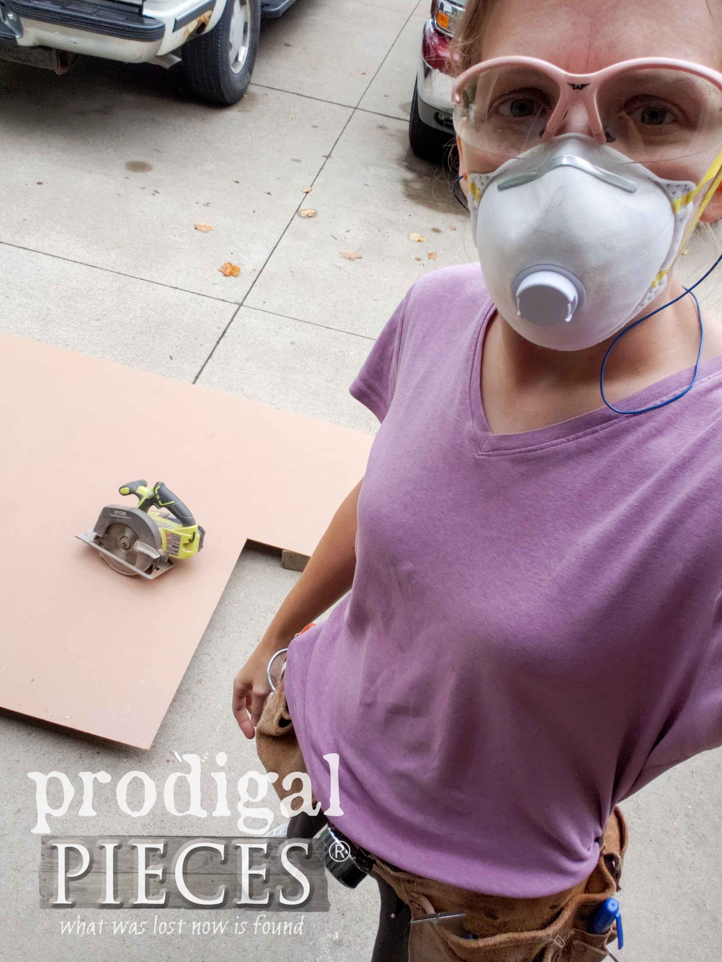Larissa of Prodigal Pieces Cutting Beadboard Ceiling Panels | prodigalpieces.com