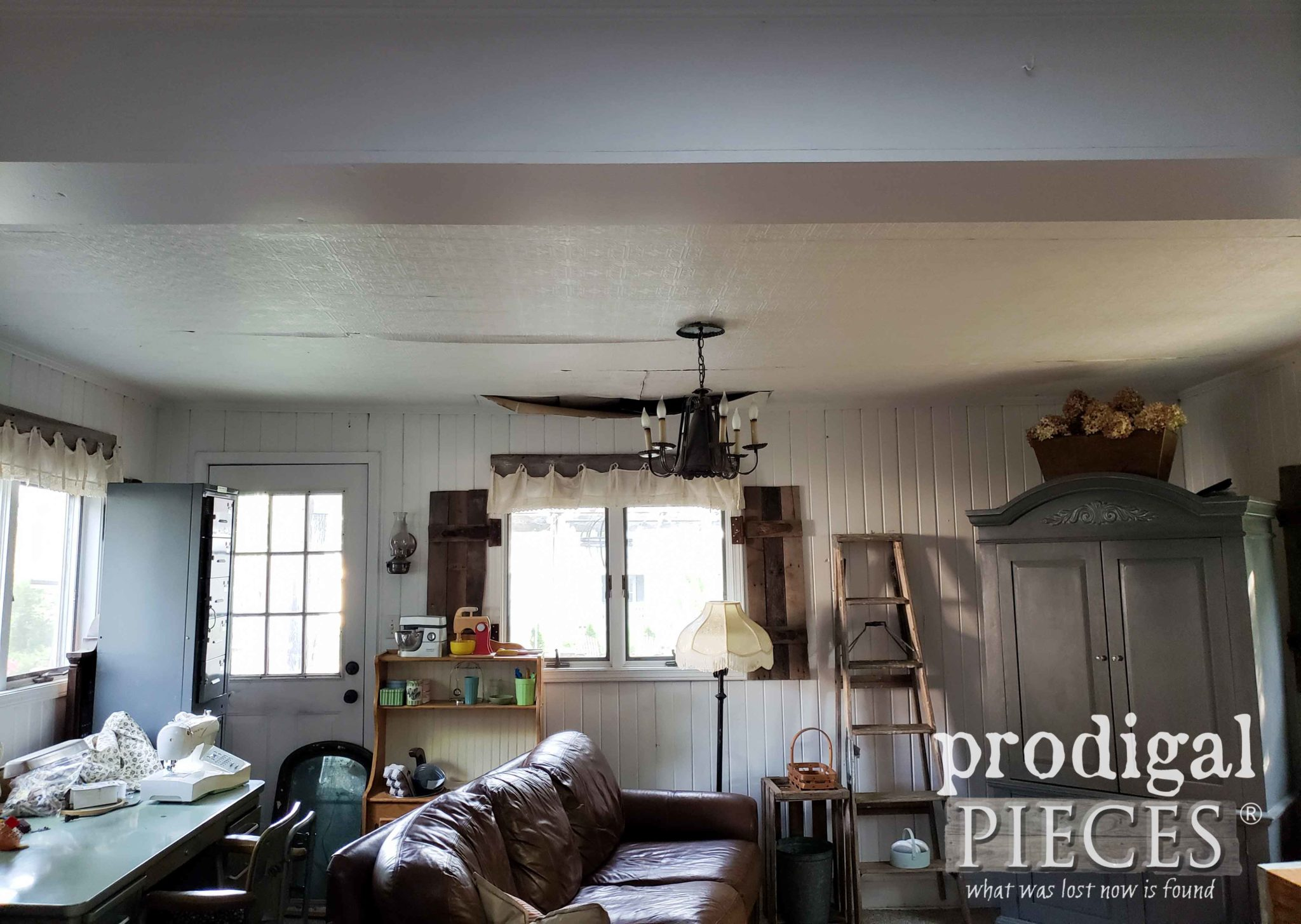Damaged Family Room Ceiling Before by Prodigal Pieces | prodigalpieces.com