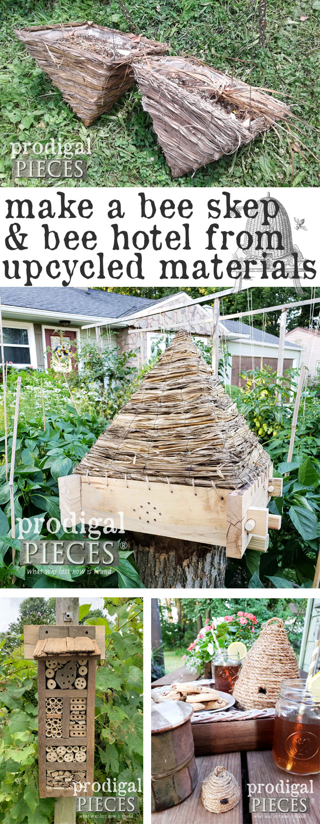 Get your craft on with these fun and easy to create DIY bee skep tutorials. It's time to do some garden and home decor fun that the whole family can enjoy. Get the step-by-step details at Prodigal Pieces | prodigalpieces.com #prodigalpieces #diy #garden #handmade #homedecor #crafts #kids