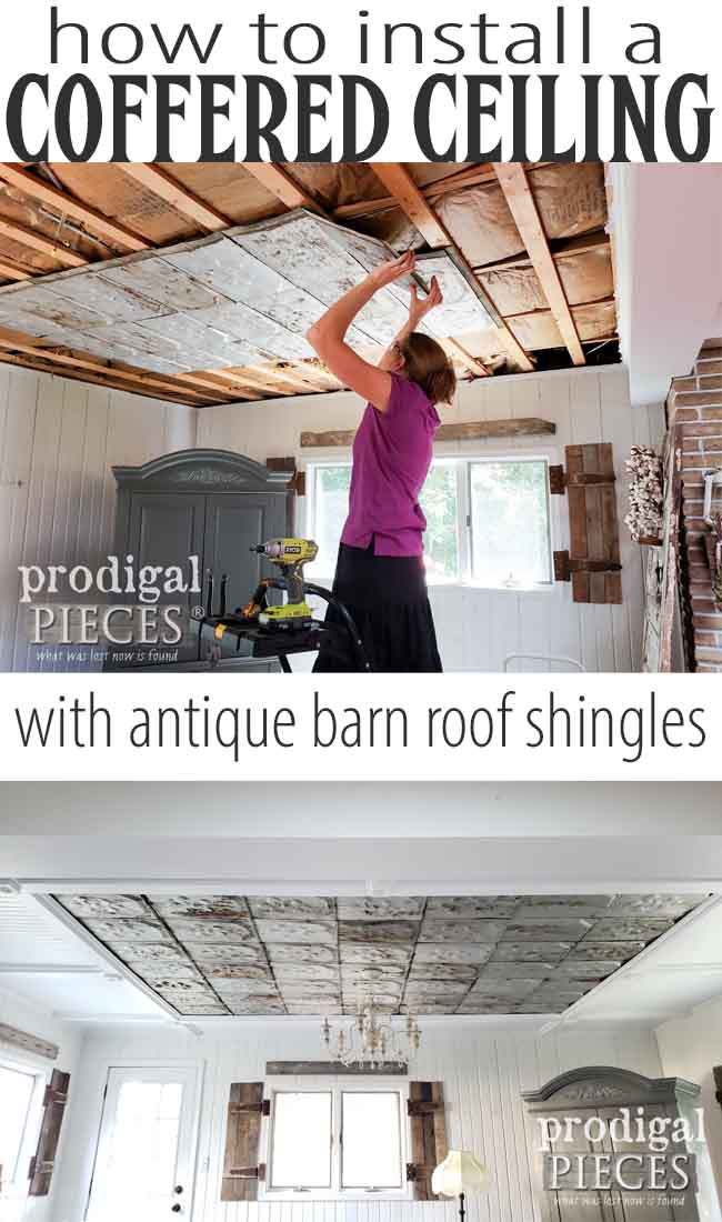 Make your house your home by giving it a personal touch. A DIY coffered ceiling is affordable and can be customized to your style. Detail at Prodigal Pieces | prodigalpieces.com #prodigalpieces #diy #homedecor #interiordesign