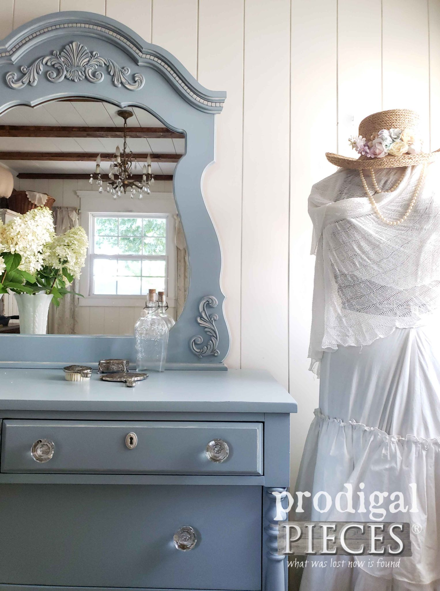 Beautifully Transformed Dresser Set in Blue by Larissa of Prodigal Pieces | prodigalpieces.com