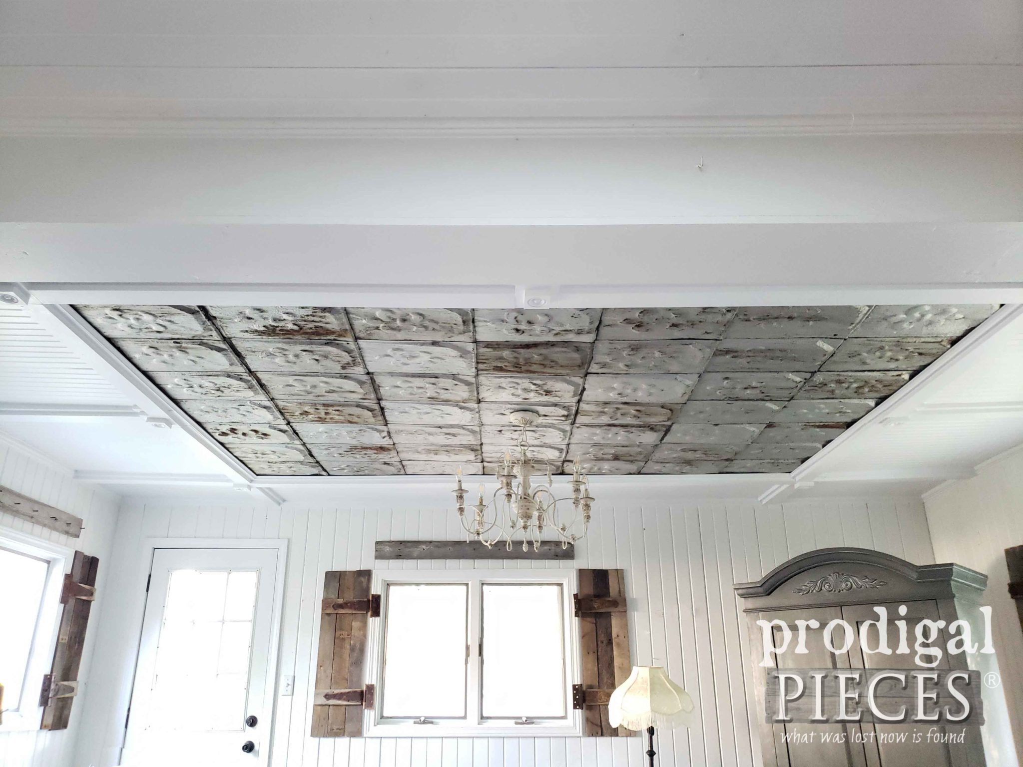 Absolutely Beautiful Coffered Ceiling Created with Beadboard and Antique Barn Roof Shingles with Patina Chandelier to Match | See more at Prodigal Pieces | prodigalpieces.com