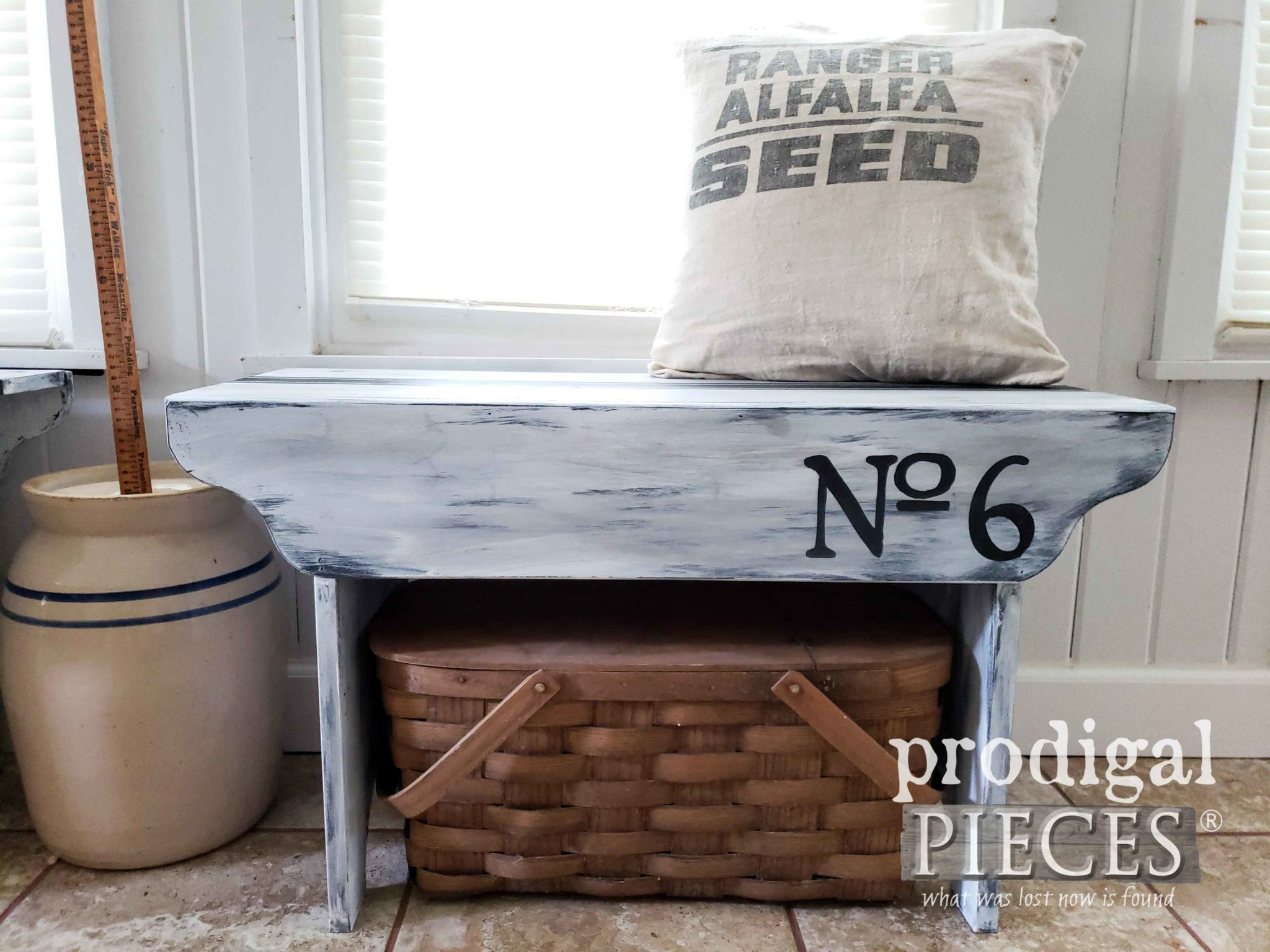 Rustic Farmhouse Entry Bench with Feed Sack Stripe by Prodigal Pieces | prodigalpieces.com