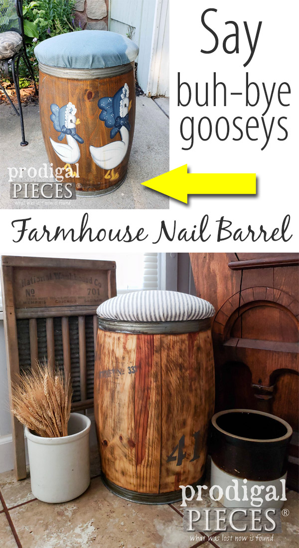 An 80's style stool gets a rustic update. See how this farmhouse nail barrel stool got a new look at Prodigal Pieces | prodigalpieces.com #prodigalpieces #handmade #home #homedecor #diy #furniture #homedecorideas