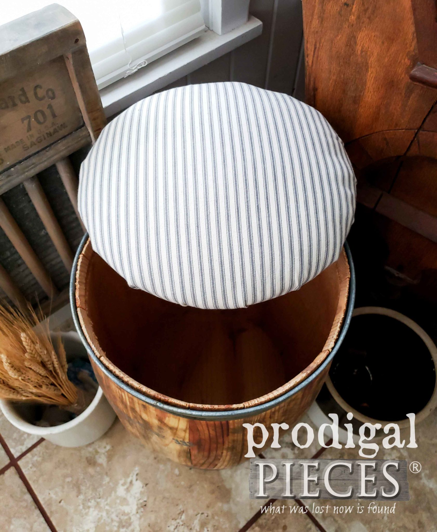 Gray Farmhouse Ticking Upholstery for Nail Barrel Stool by Prodigal Pieces | prodigalpieces.com