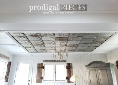 Featured DIY Coffered Ceiling with Reclaimed Barn Roof Shingles by Prodigal Pieces | prodigalpieces.com