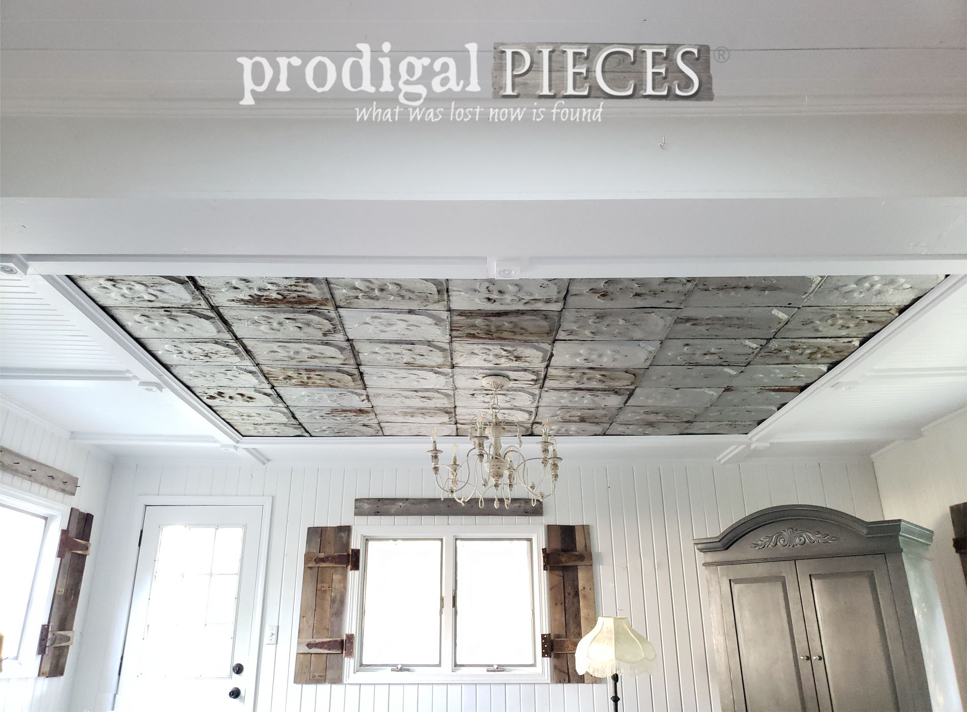 diy coffered ceiling with antique barn roof shingles - prodigal pieces