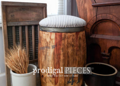 Featured Rustic Farmhouse Nail Barrel Stool with Gray Ticking Stripe Upholstery by Larissa of Prodigal Pieces | prodigalpieces.com