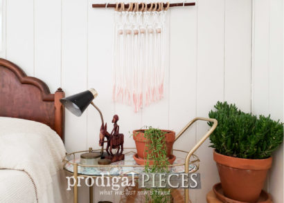 Featured Mid Century Modern Bar Cart with DIY Ombre Macrame Wall Art Tutorial by Prodigal Pieces | prodigalpieces.com