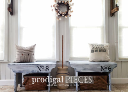 Featured Rustic Farmhouse Benches with Grain Sack Stripe by Larissa of Prodigal Pieces | prodigalpieces.com