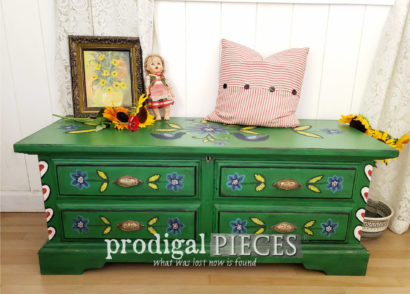 Featured Vintage Blanket Chest with Hand-Painted Folk Art Design by Larissa of Prodigal Pieces | prodigalpieces.com