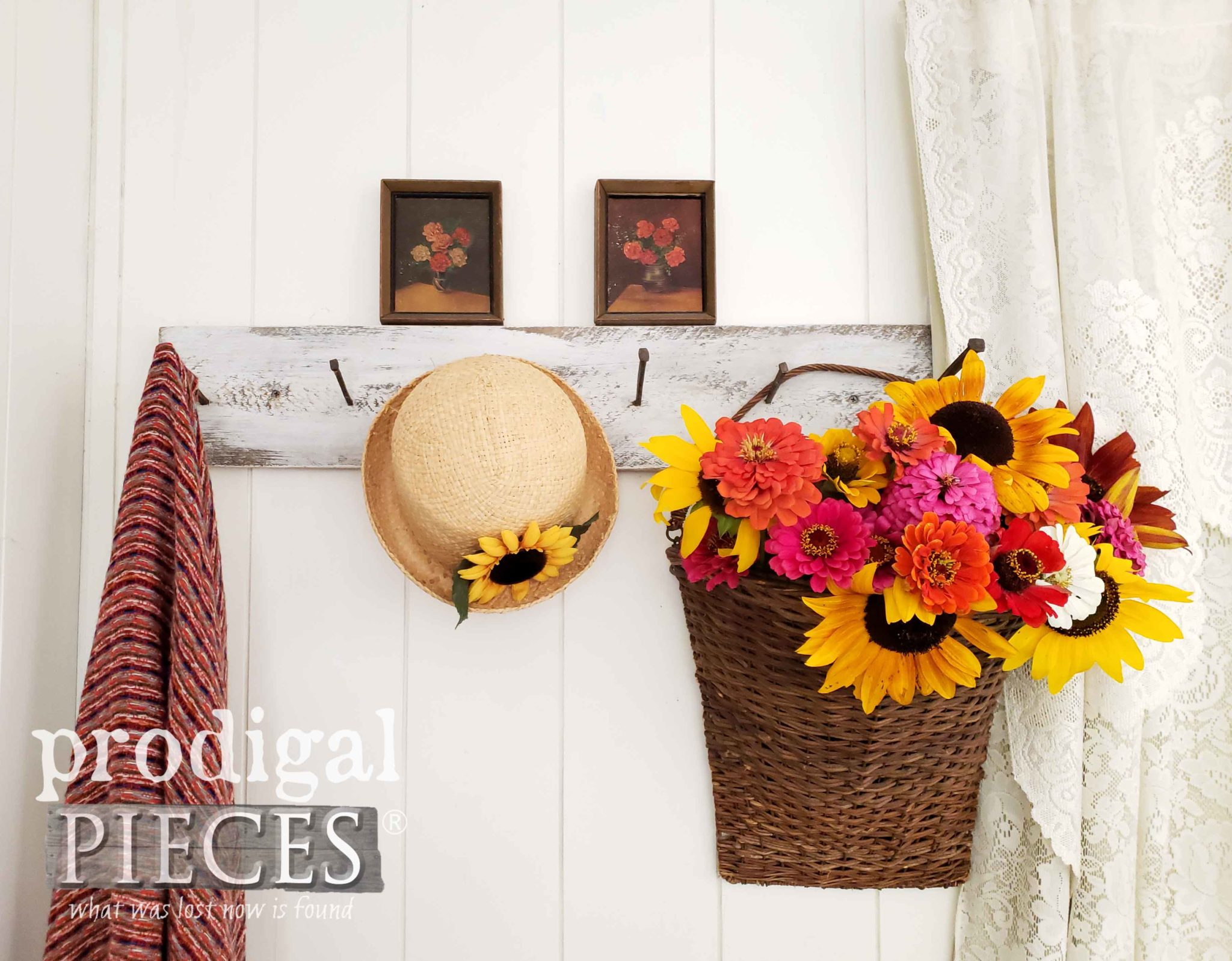 Floral Vignette with Sunflowers and Zinnias by Prodigal Pieces | prodigalpieces.com