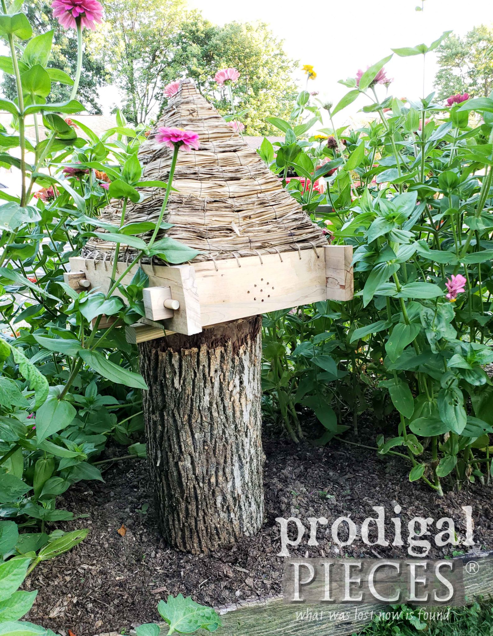 Flower Garden Bee Skep Made from Reclaimed Materials by Larissa of Prodigal Pieces | prodigalpieces.com