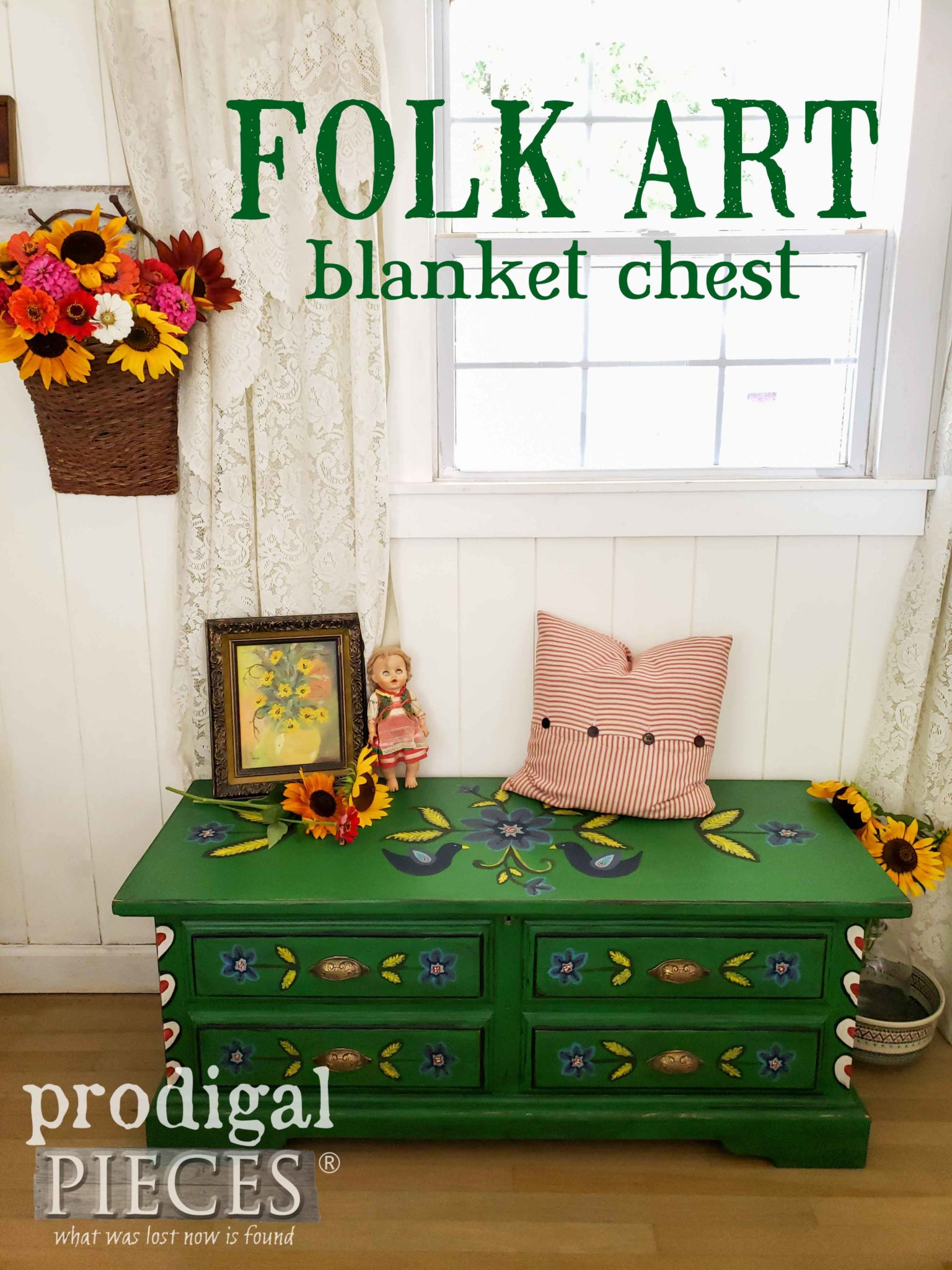 Rebulit and Created by Hand, this Folk Art Blanket Chest tells a story by Larissa of Prodigal Pieces | prodigalpieces.com #prodigalpieces #handmade #furniture #diy