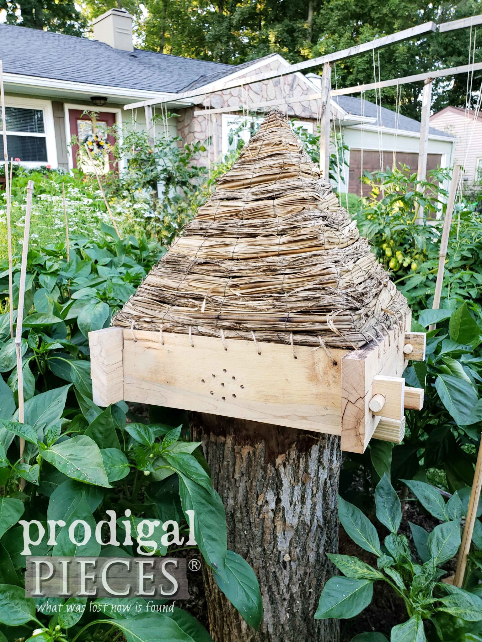 Garden Bee Skep for Decorative Garden Design Made Out of Upcycled Materials by Larissa of Prodigal Pieces | prodigalpieces.com