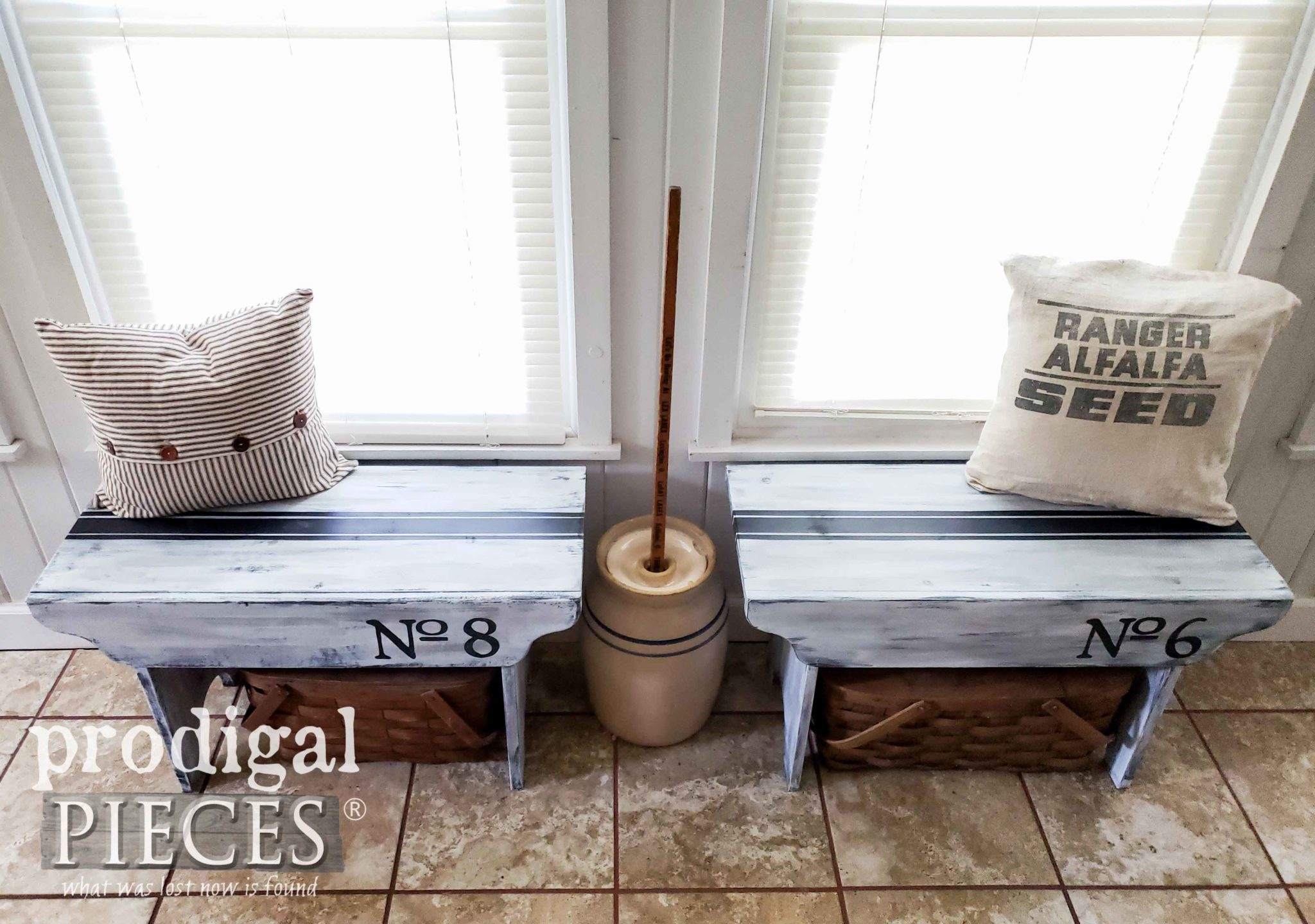 Grain Sack Bench Tops for Rustic Farmhouse Style by Larissa of Prodigal Pieces | prodigalpieces.com