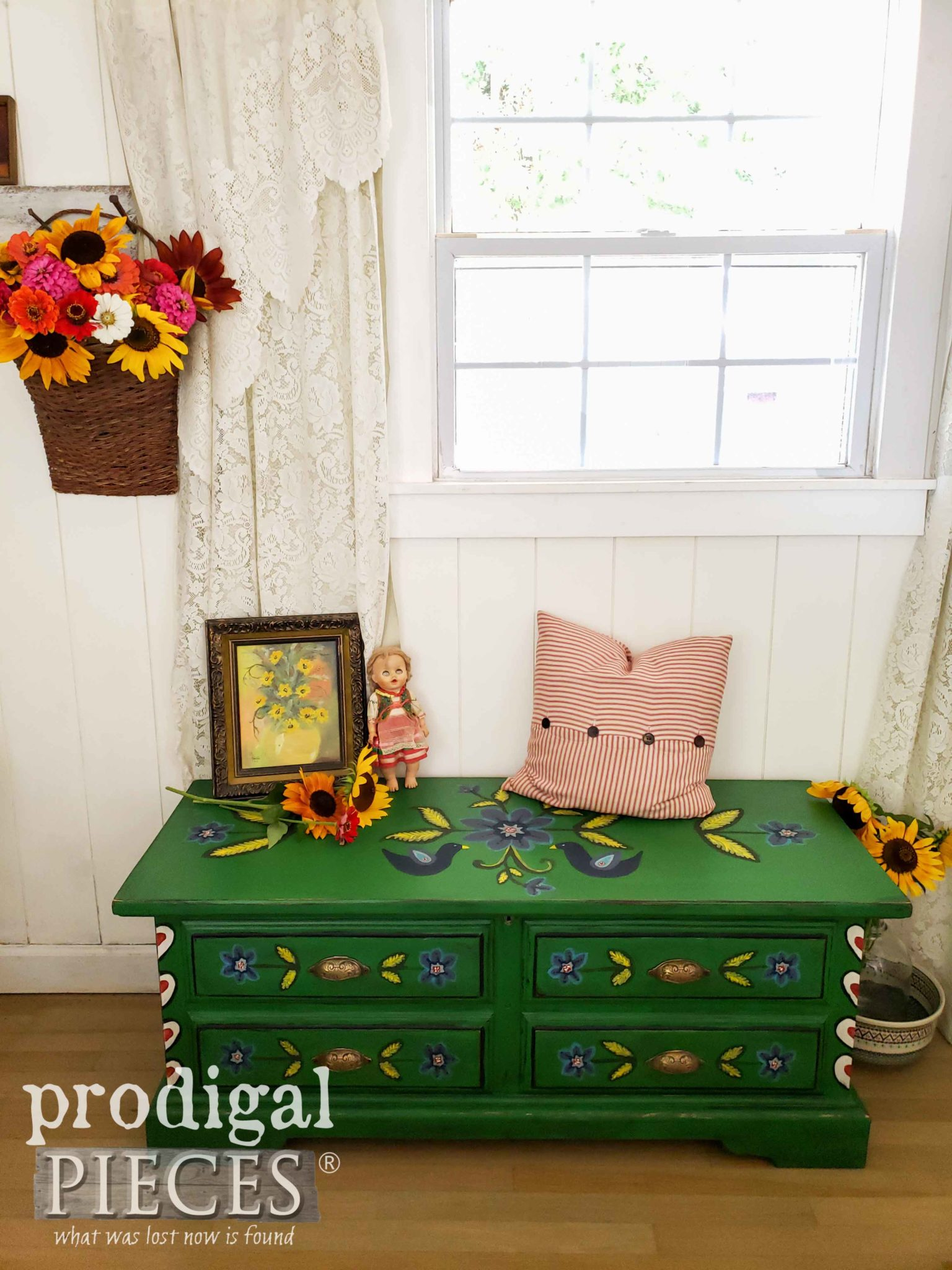 Green Polish Folk Art Blanket Chest with Hand-Painted Design by Larissa of Prodigal Pieces | prodigalpieces.com