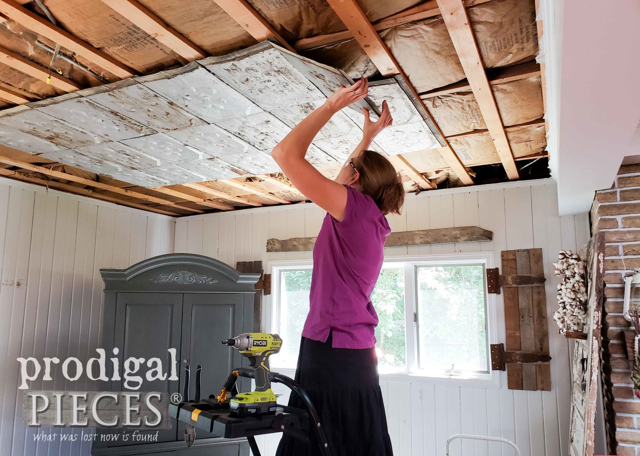 Larissa of Prodigal Pieces Installing Antique Barn Roof Shingles on Coffered Ceiling | prodigalpieces.com