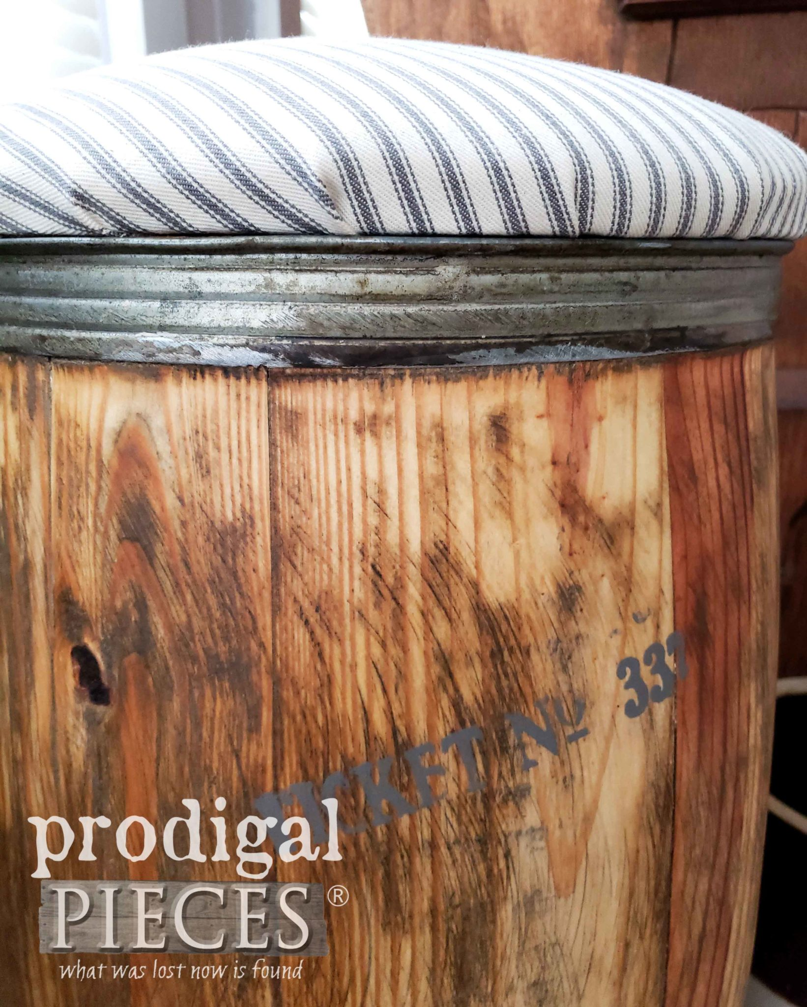 Industrial Style Nail Barrel Stool for Farmhouse Decor by Larissa of Prodigal Pieces | prodigalpieces.com