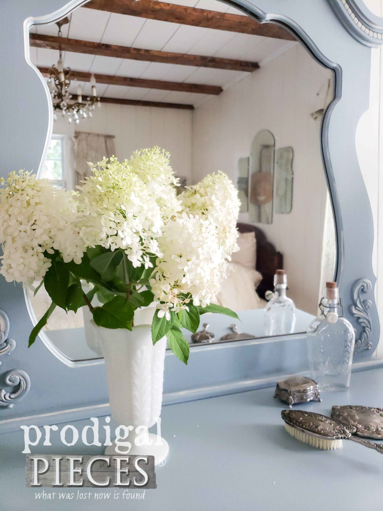 Bouquet of Limelight Hydrangeas in Vintage Milk Glass Vase by Prodigal Pieces | prodigalpieces.com