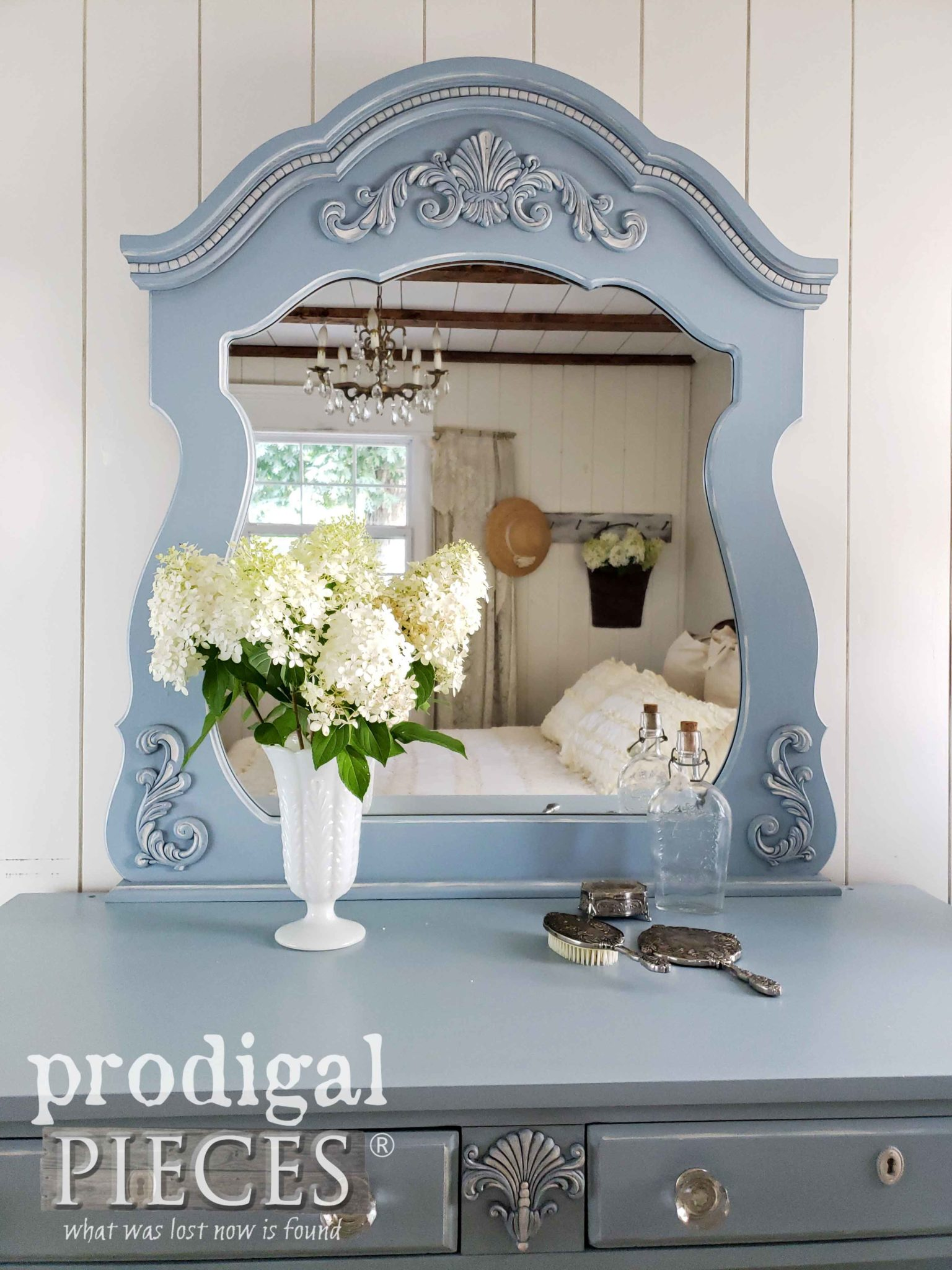 Upcycled Mirror on Antique Dresser by Prodigal Pieces | prodigalpieces.com