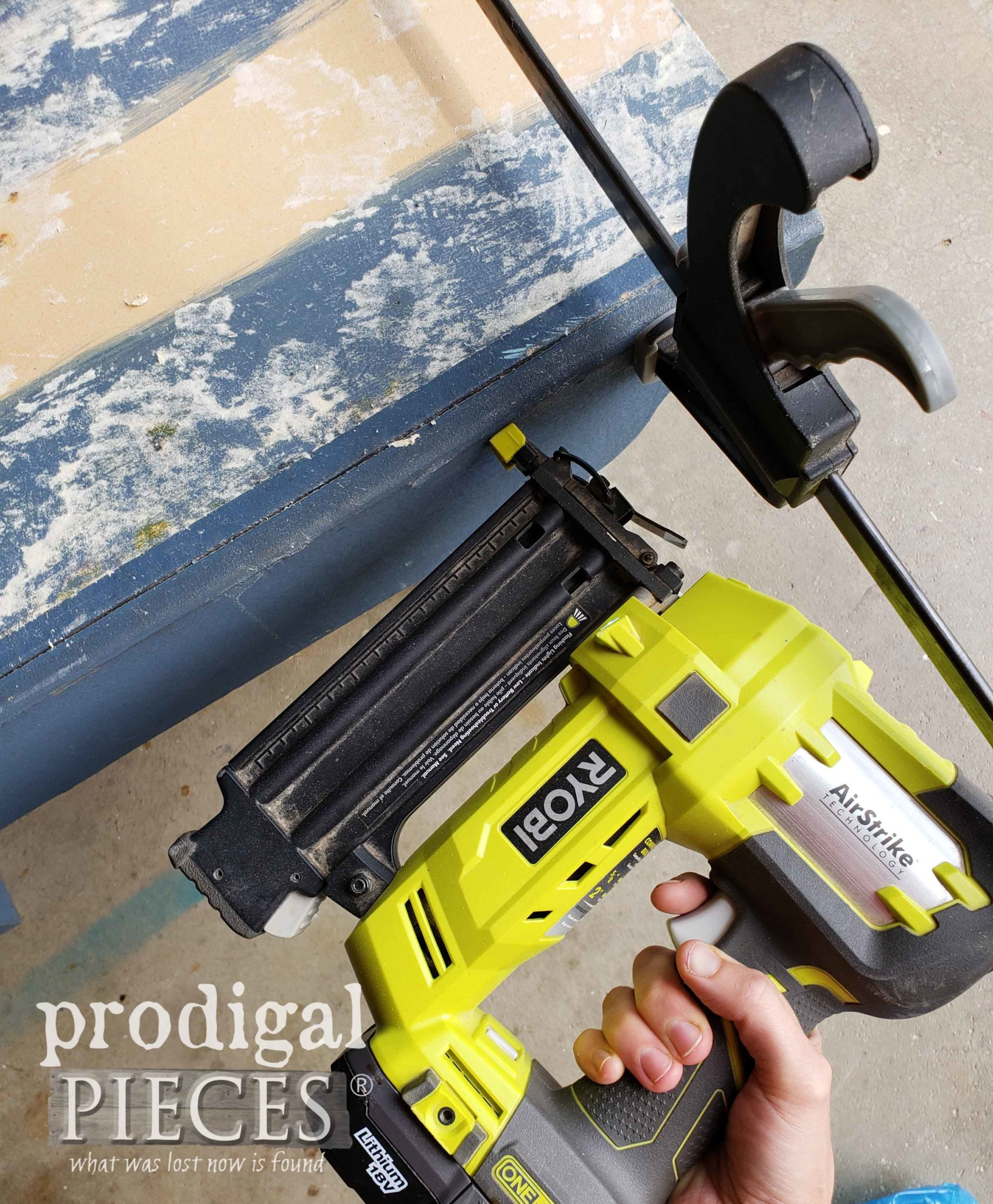 Using Ryobi Brad Nailer to Repair Benches | prodigalpieces.com