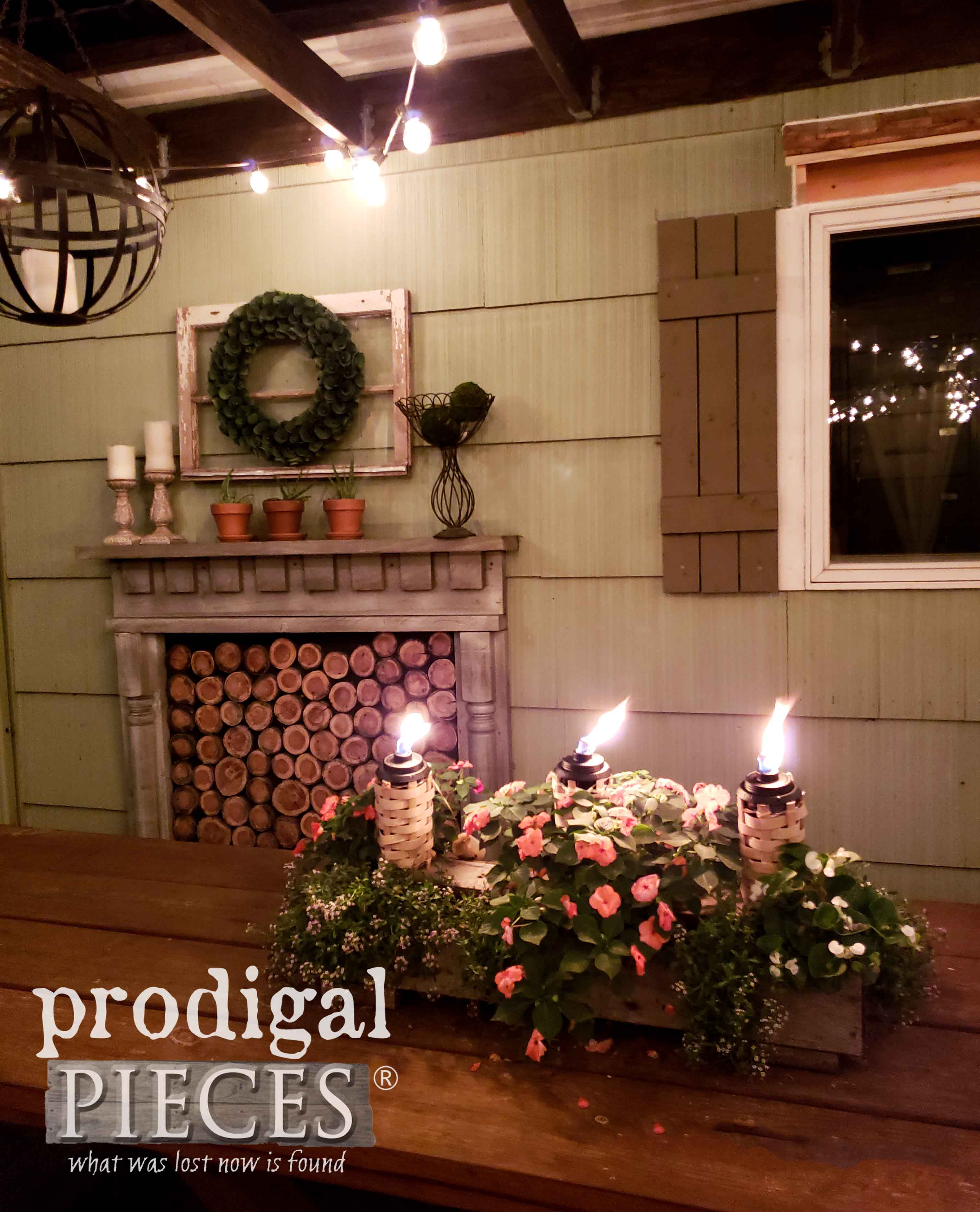 Outdoor Patio Night Dining Area with DIY Decor by Prodigal Pieces | prodigalpieces.com