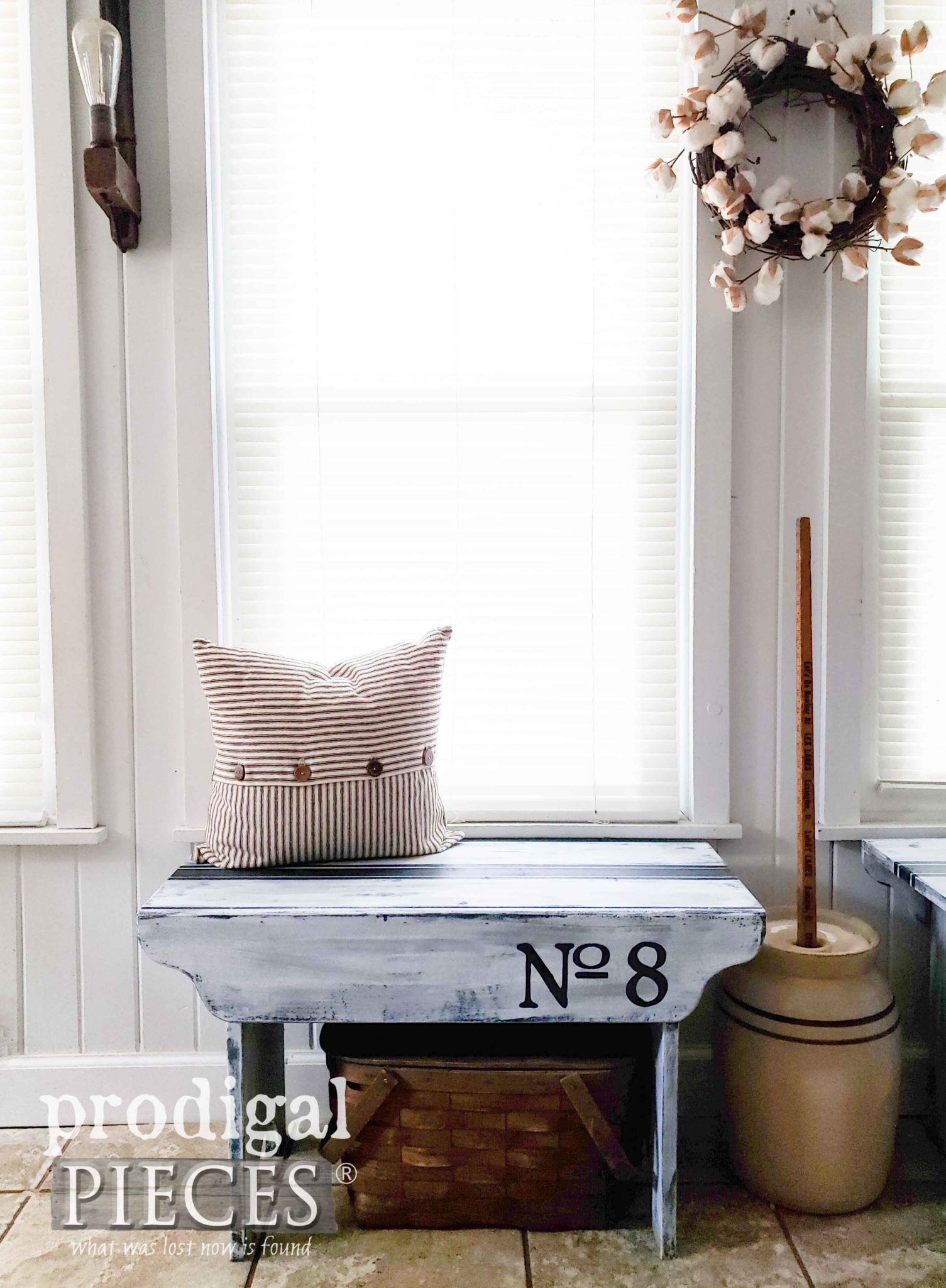 No. 8 Rustic Farmhouse Bench with Grain Sack Stripe for Home Decor by Larissa of Prodigal Pieces | prodigalpieces.com