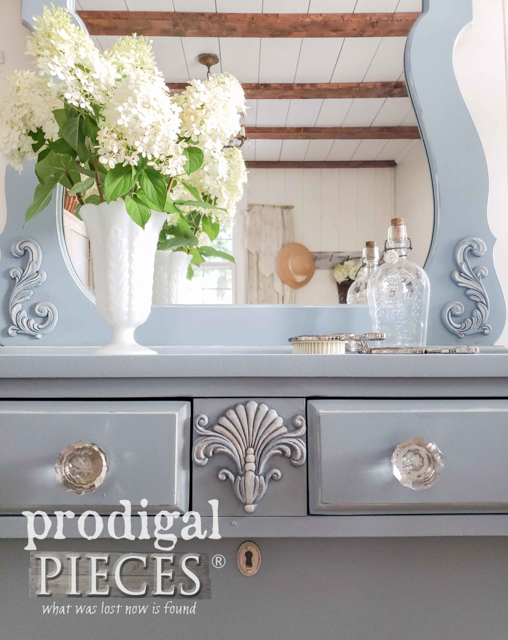 Ornate Vintage Dresser in Blue by Larissa of Prodigal Pieces | prodigalpieces.com