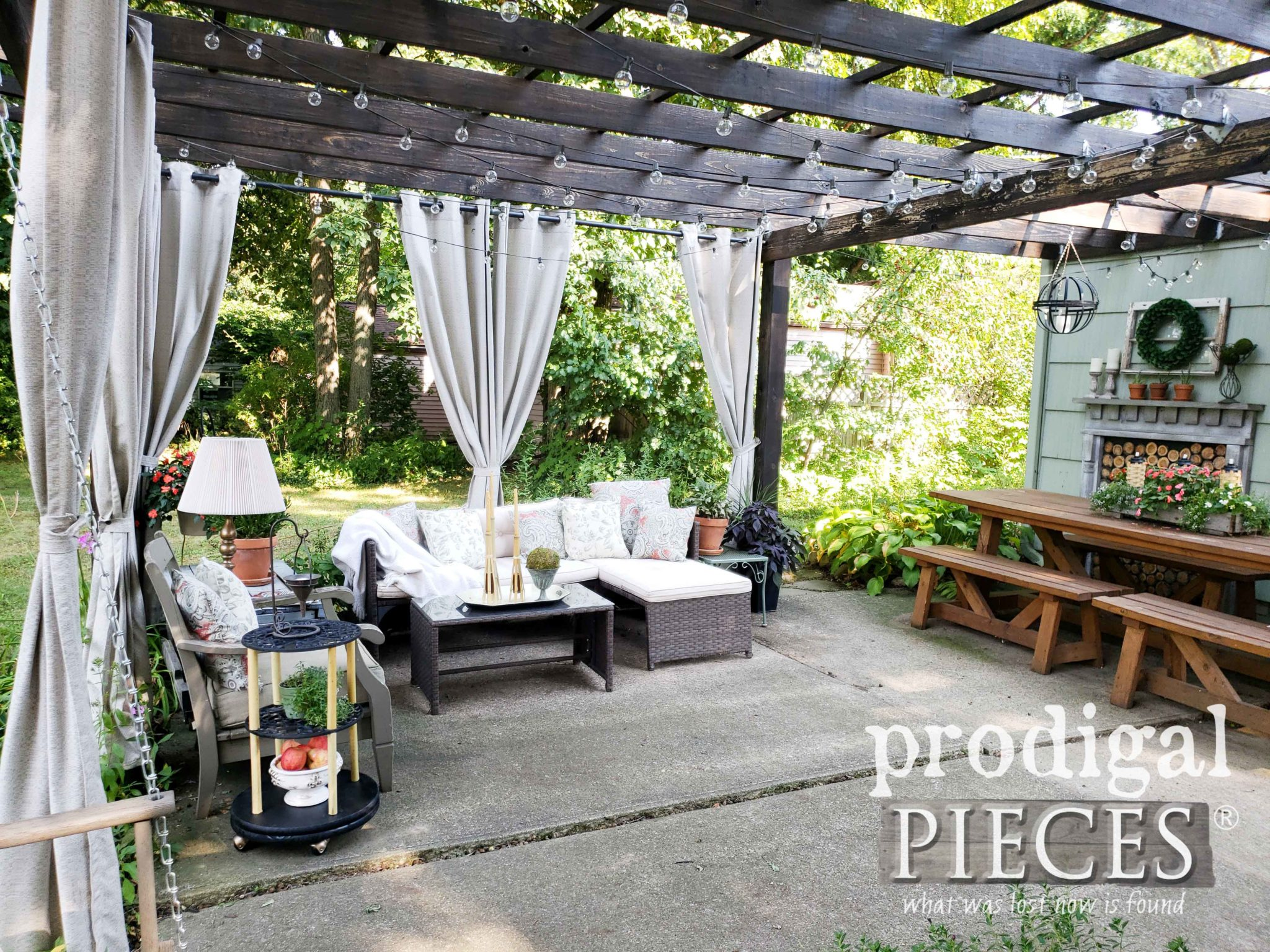 Outdoor Patio Pergola Decor with Curtains, Lights, Dining and more by Larissa of Prodigal Pieces | prodigalpieces.com