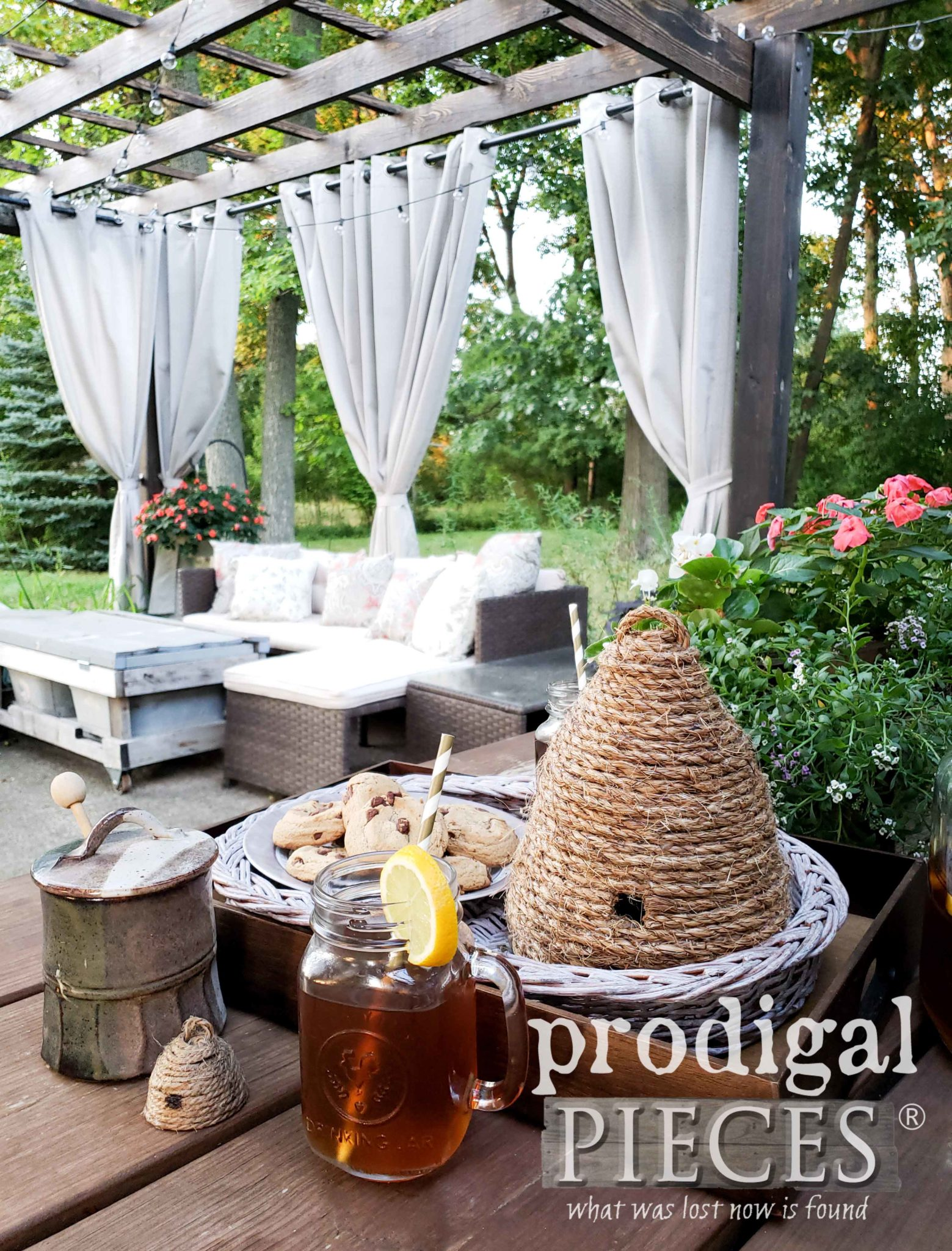 Outdoor Patio and Pergola with DIY Farmhouse Decor by Larissa of Prodigal Pieces | prodigalpieces.com