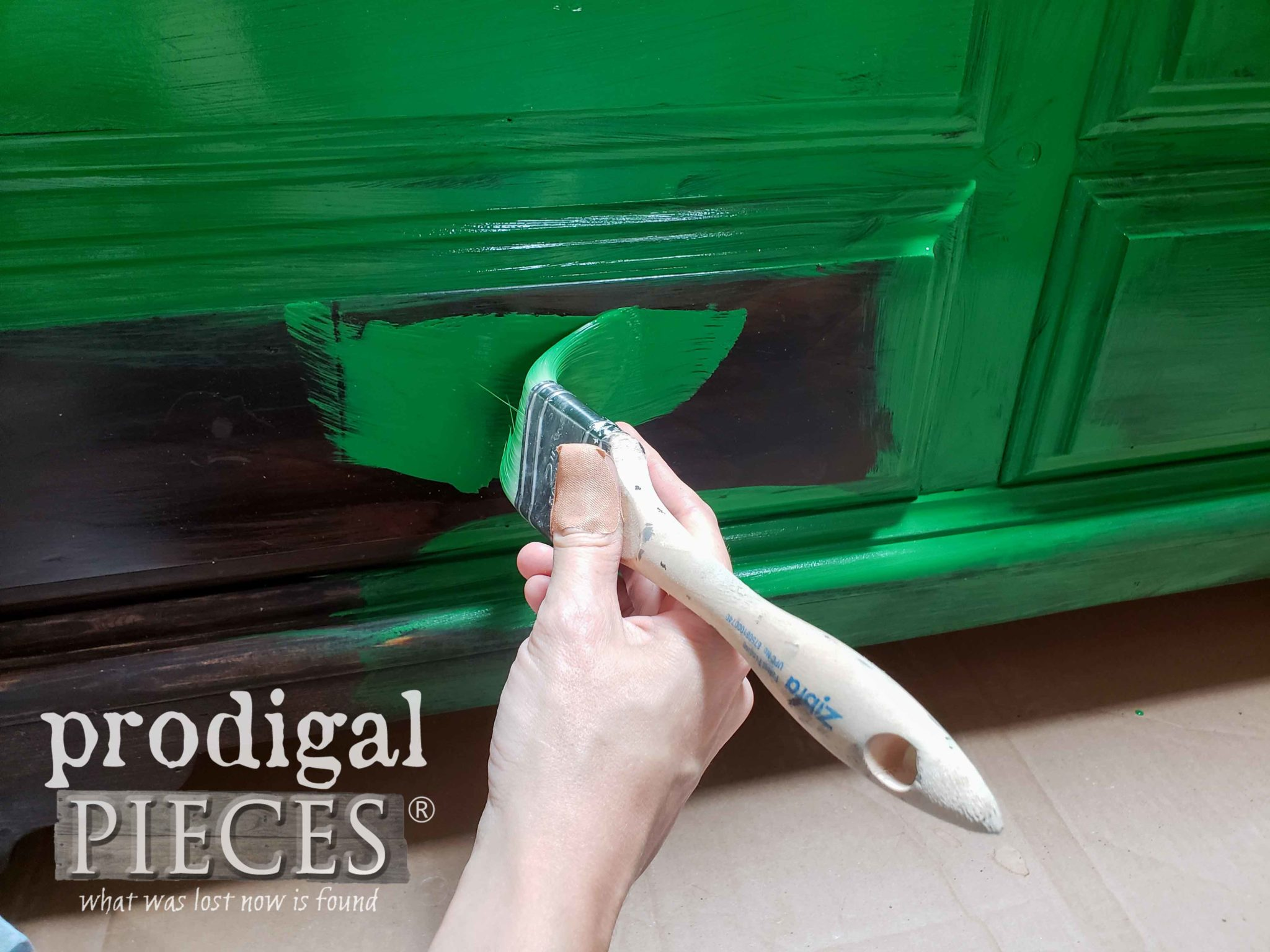 Applying First Coat of Green Paint with Zibra Angled Brush by Prodigal Pieces | prodigalpieces.com