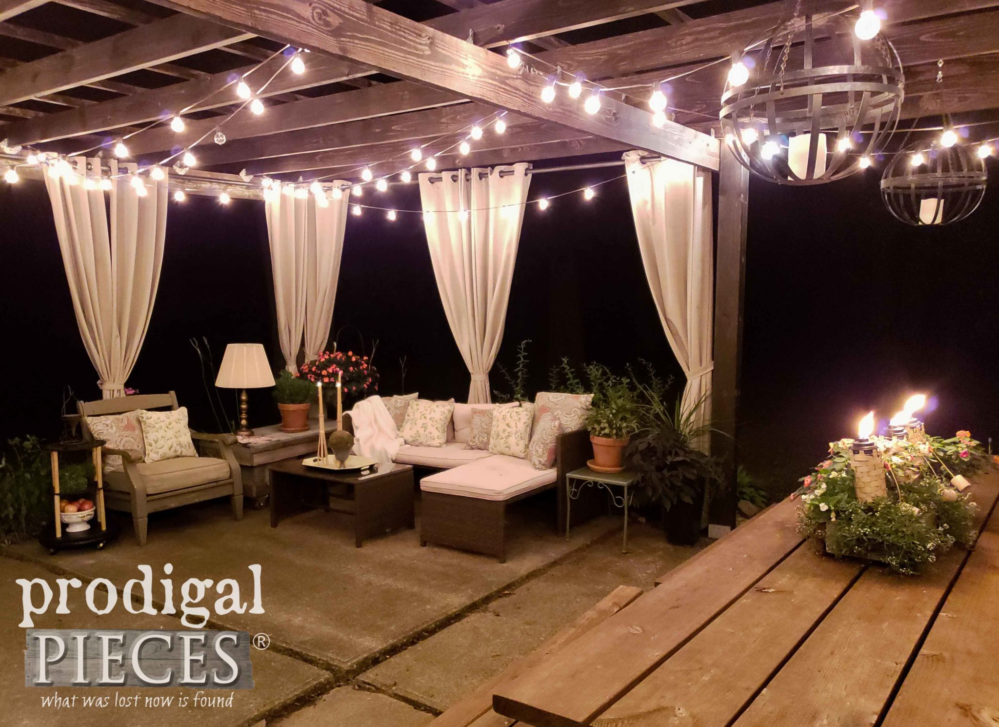 Patio Pergola with Lights at Night by Prodigal Pieces | prodigalpieces.com