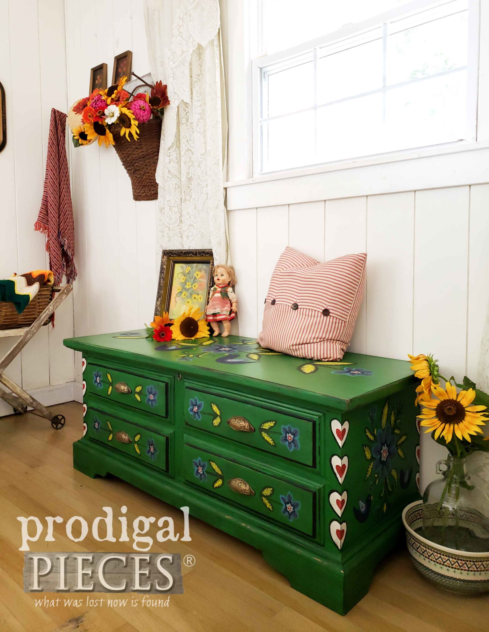 Hand-Painted Polish Folk Art Blanket Chest by Larissa of Prodigal Pieces | prodigalpieces.com