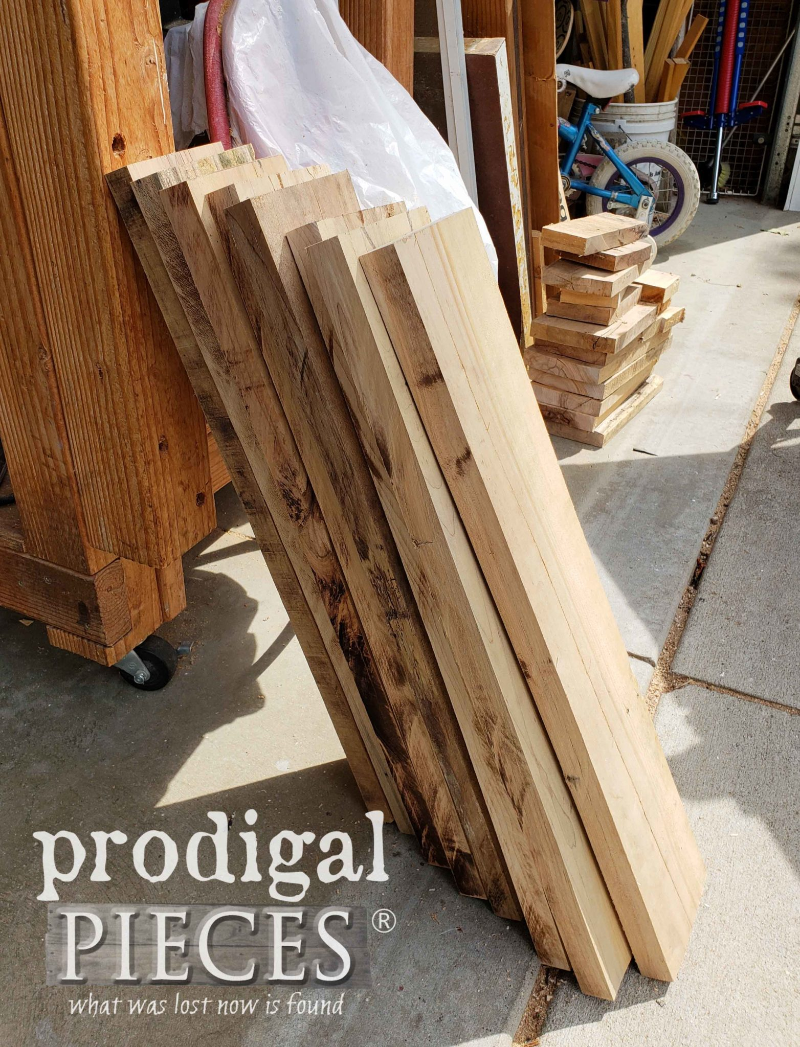 Stack of Prepped Hard Maple Pallet Wood for DIY Bee Skep by Prodigal Pieces | prodigalpieces.com