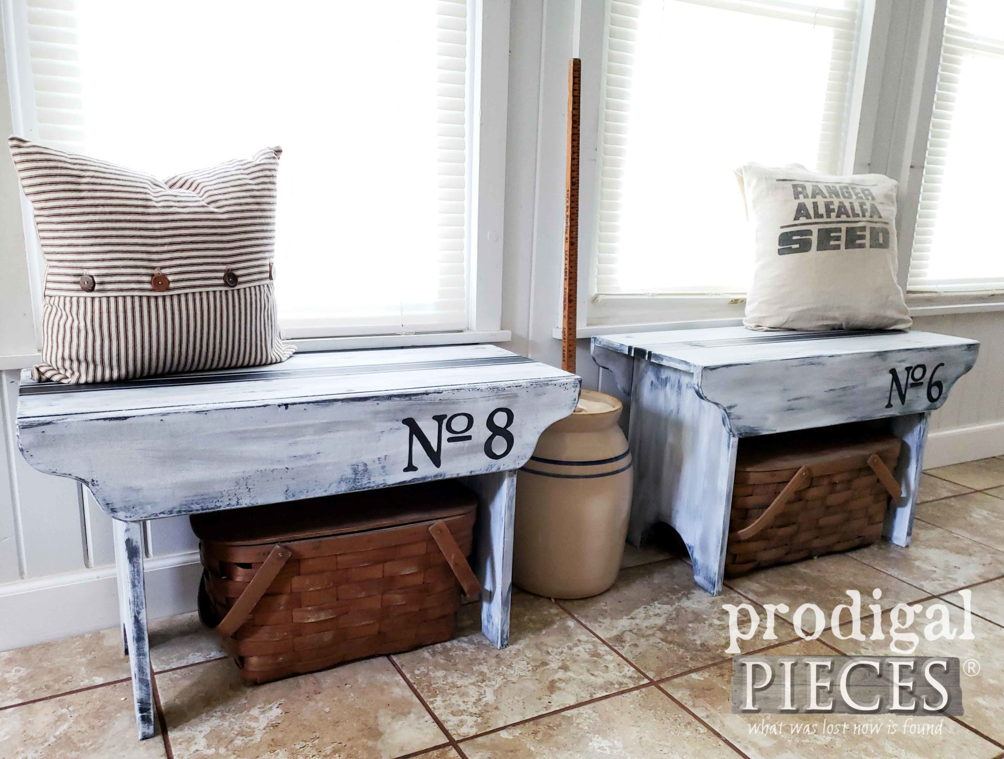 Primitive Handmade Farmhouse Benches with Grain Sack Stripe by Larissa of Prodigal Pieces | prodigalpieces.com