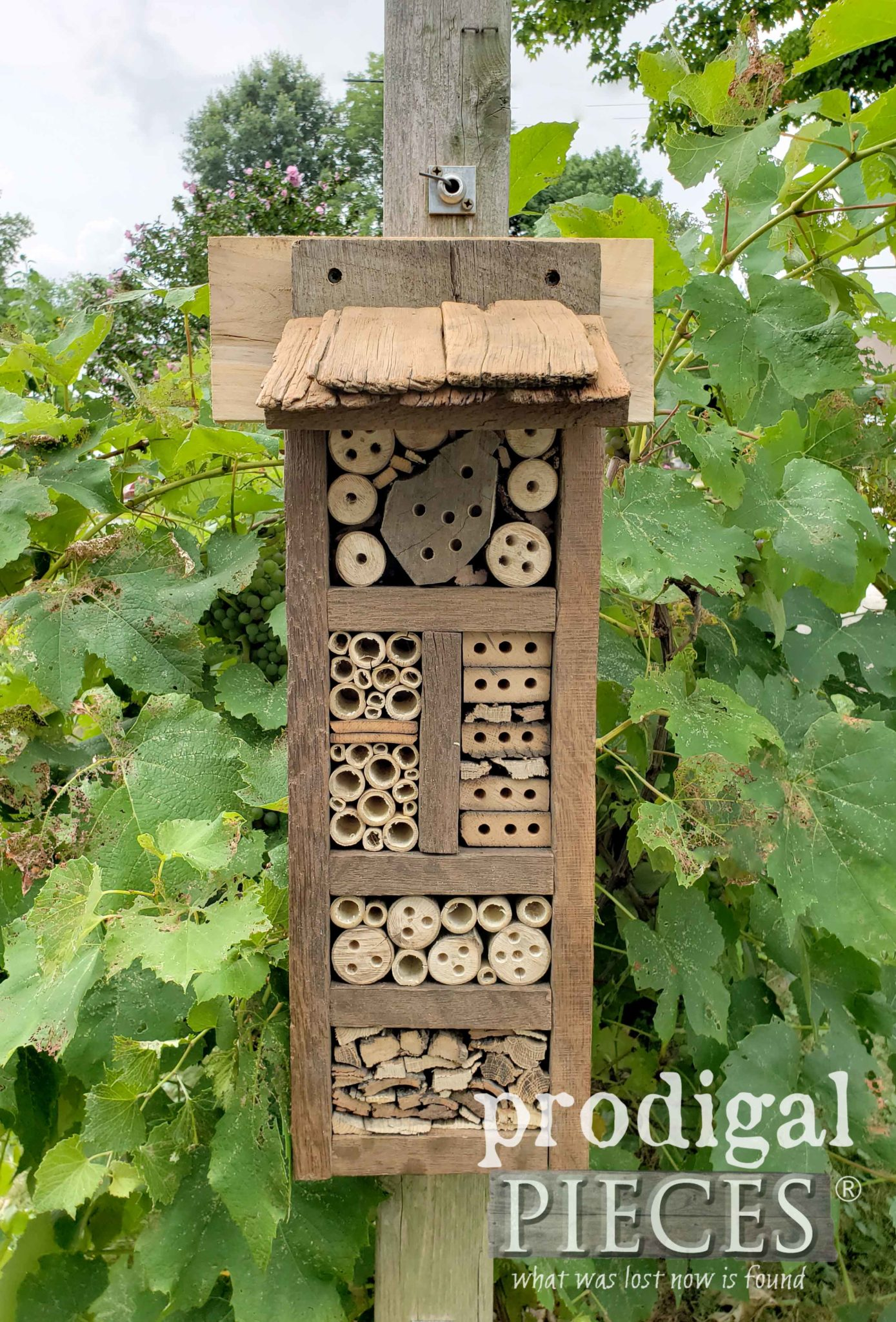 Reclaimed Wood Bee Hotel Using Barn Wood, Bamboo to Promote a Healthy Garden | Prodigal Pieces | prodigalpieces.com