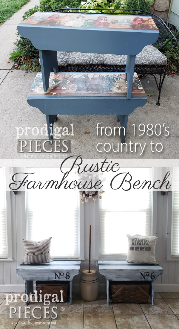 Goodbye 80's country blue and hello rustic farmhouse. These benches were meant to be farmhouse benches with bit of paint and know-how. Get the DIY details at Prodigal Pieces | prodigalpieces.com #prodigalpieces #handmade #furniture #farmhouse #diy #homedecor #home #homedecorideas