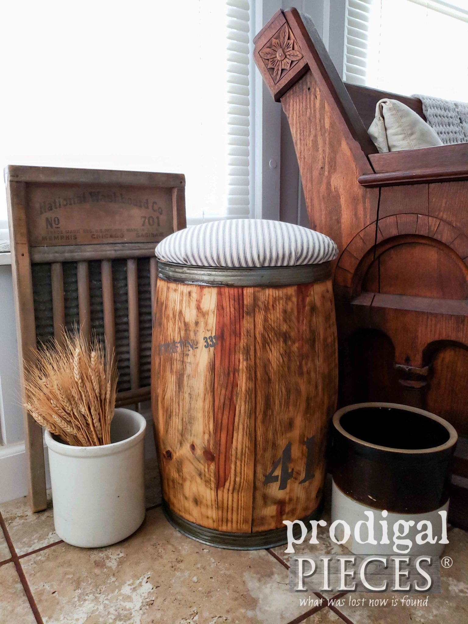 Rustic Farmhouse DIY Decor with Nail Barrel Stool with Gray Ticking Upholstery by Larissa of Prodigal Pieces | prodigalpieces.com #prodigalpieces #diy #handmade