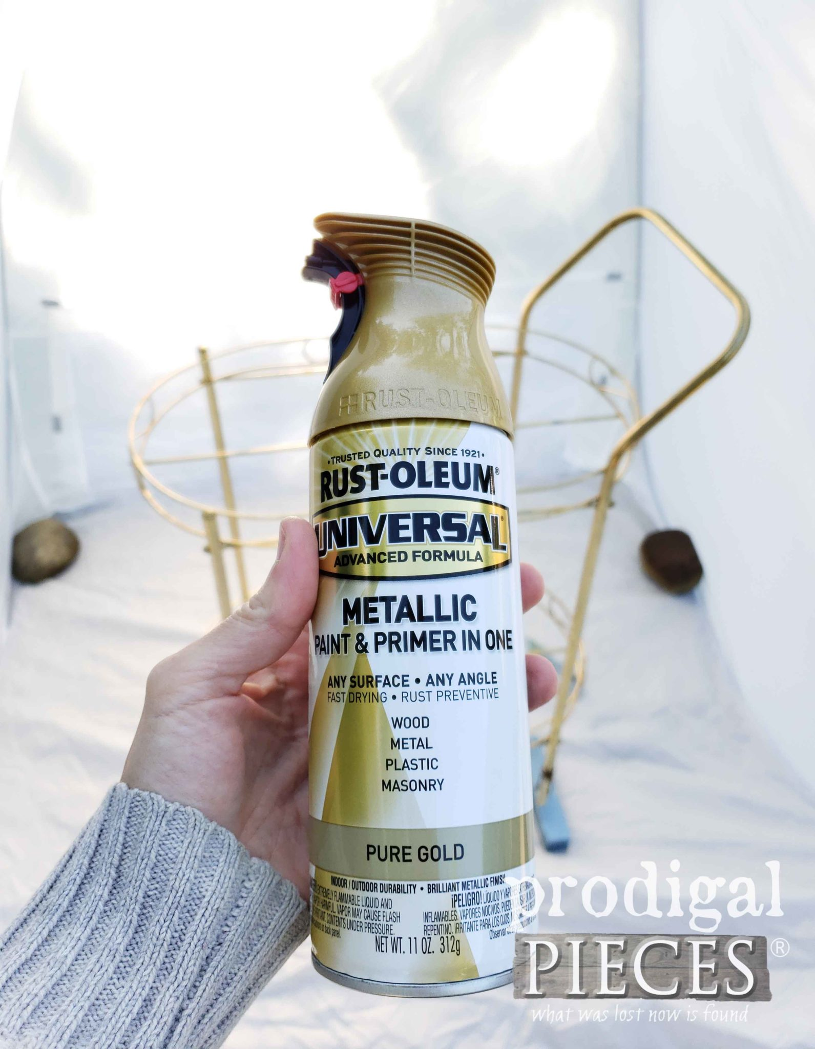 Rustoleum Pure Gold Spray Paint for MCM Bar Cart | prodigalpieces.com
