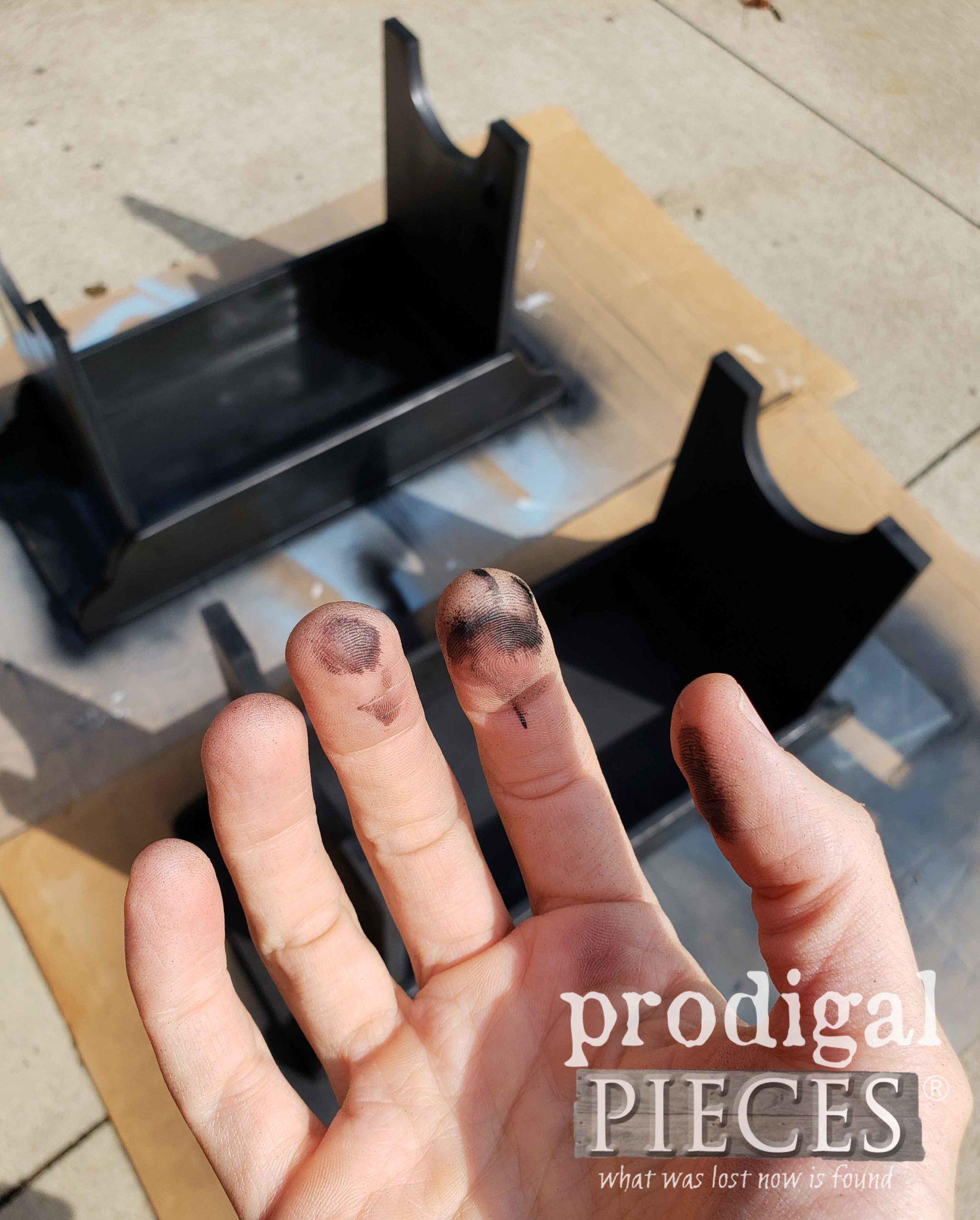 Spray Painted Fingers Clean up with a Natural Oil - No Chemical Cleaners Needed | prodigalpieces.com
