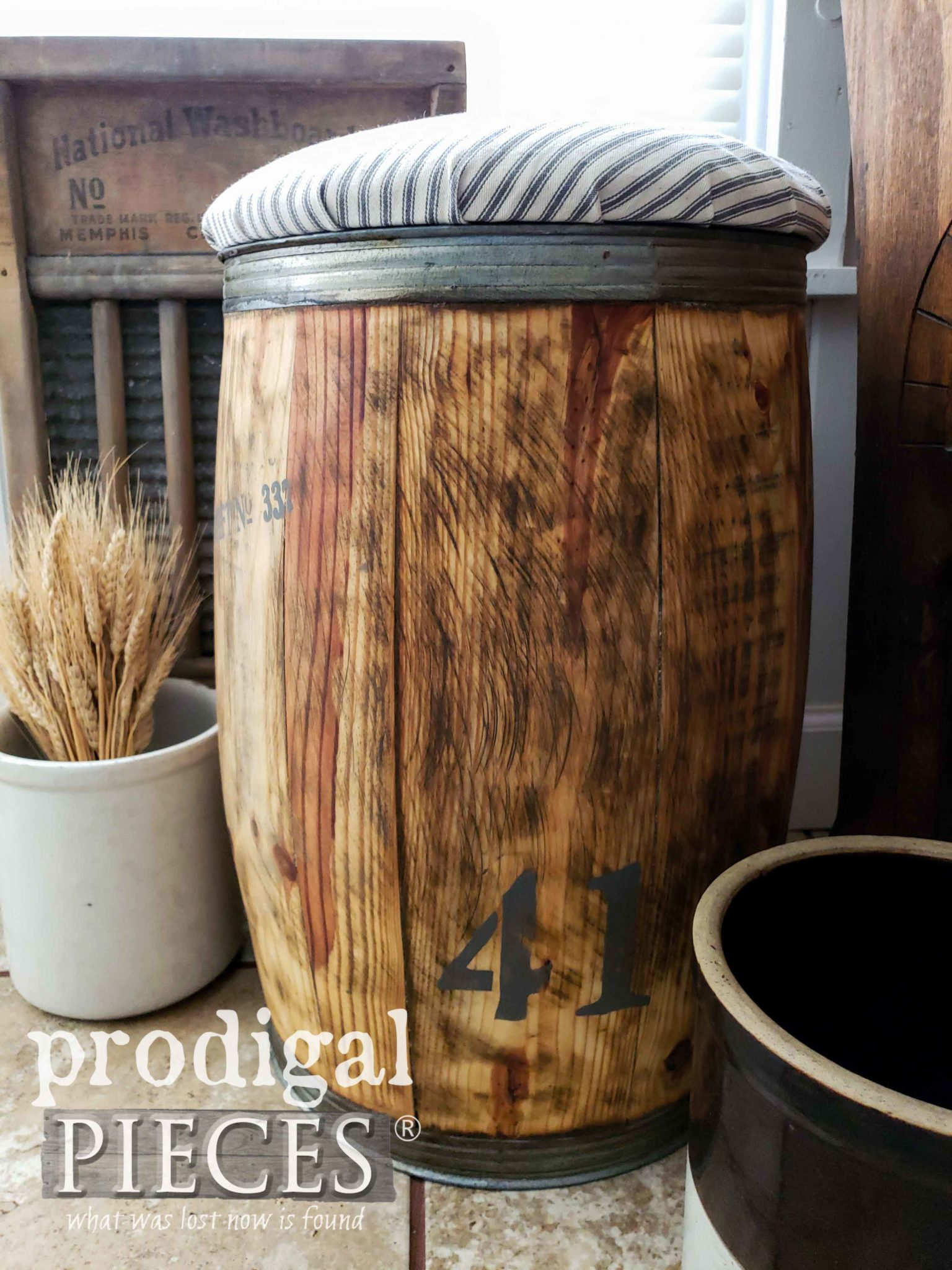 Stamped Antique Farmhouse Nail Barrel by Larissa of Prodigal Pieces | prodigalpieces.com