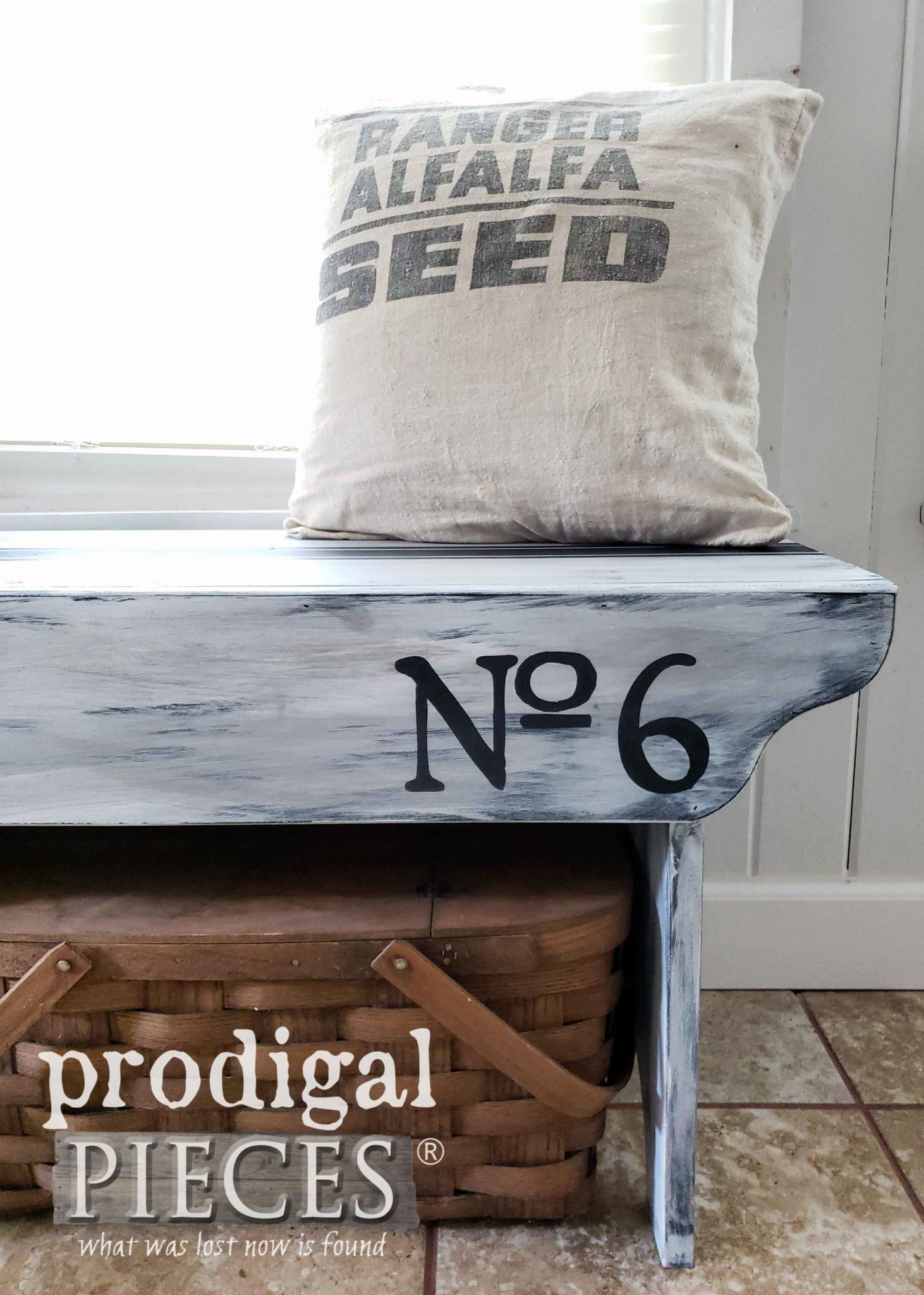 Stenciled Farmhouse Bench with Old World Numbers by Larissa of Prodigal Pieces | prodigalpieces.com