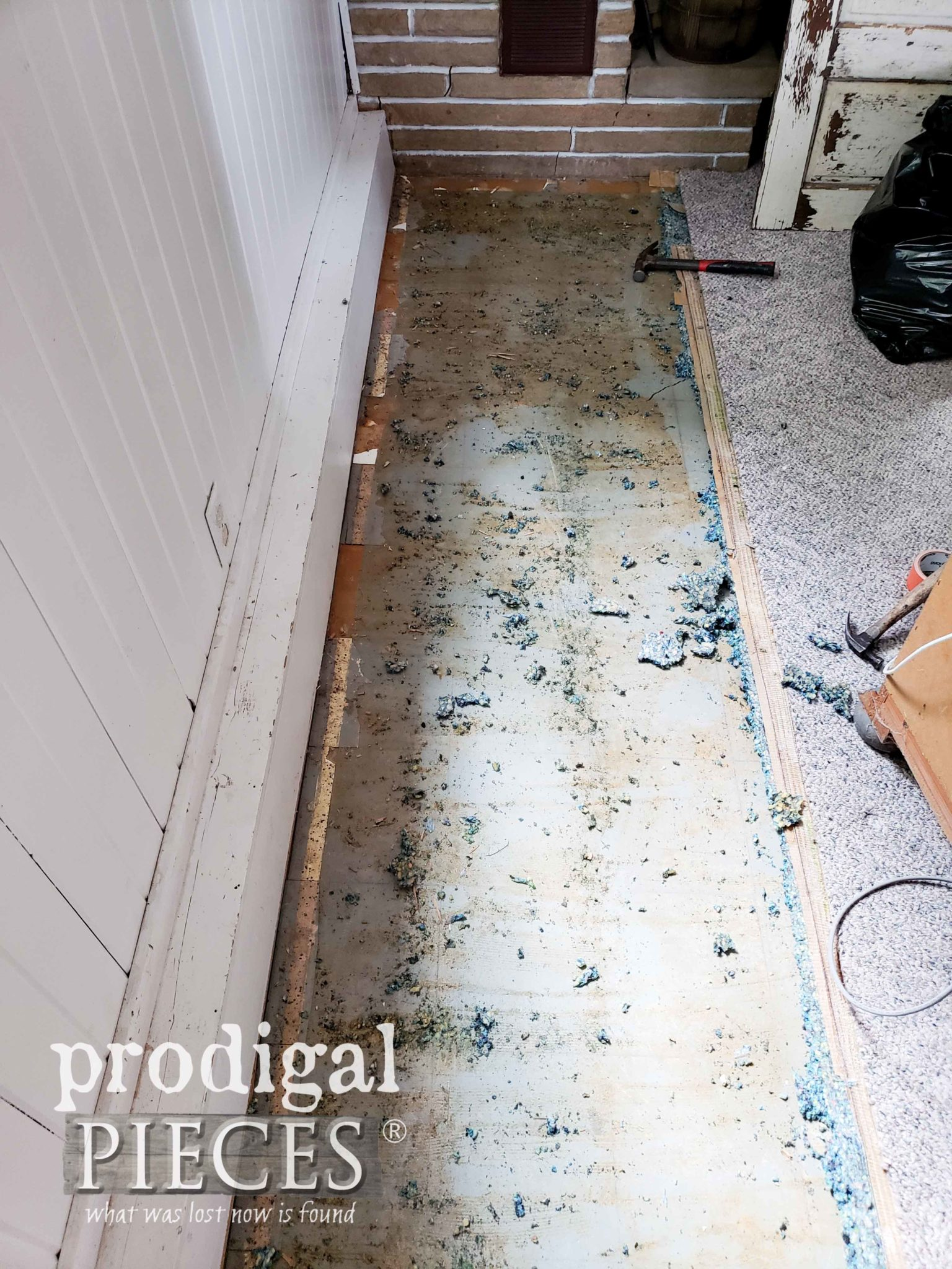 Tearing Up Carpet in Family Room by Prodigal Pieces | prodigalpieces.com