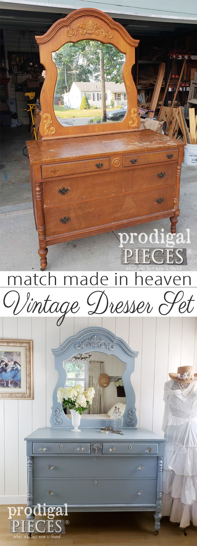 Fantastic! This cast-off mirror is married to this antique dresser for a lovely upcycled dresser set makeover by Larissa of Prodigal Pieces | See the details at prodigalpieces.com #prodigalpieces #furniture #homedecor #handmade #diy