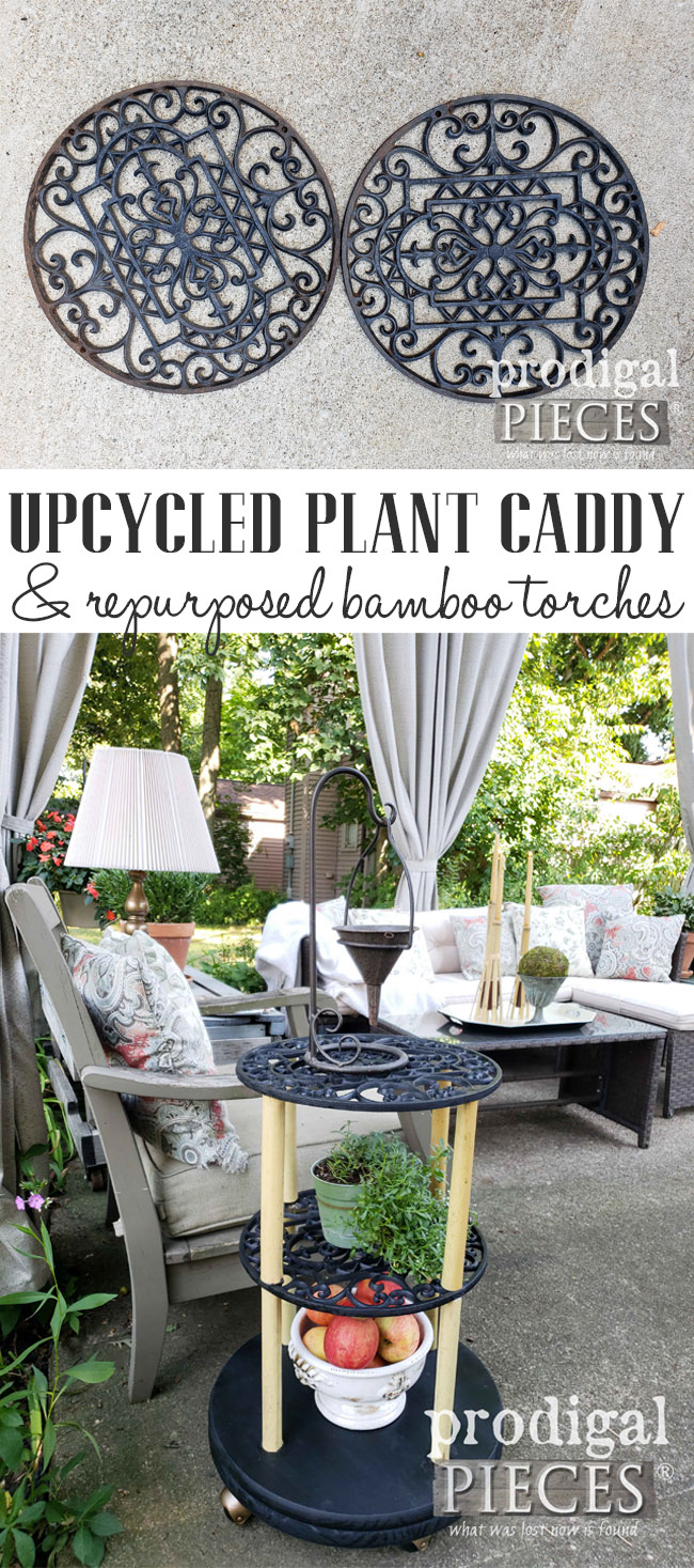 From Trash to Upcycled Plant Caddy, this cast iron and bamboo creation adds interest and function to your outdoor living. Plus, repurposed bamboo torches for DIY decor too. Get all the details at Prodigal Pieces | prodigalpieces.com #prodigalpieces #handmade #outdoor #diy #homedecor