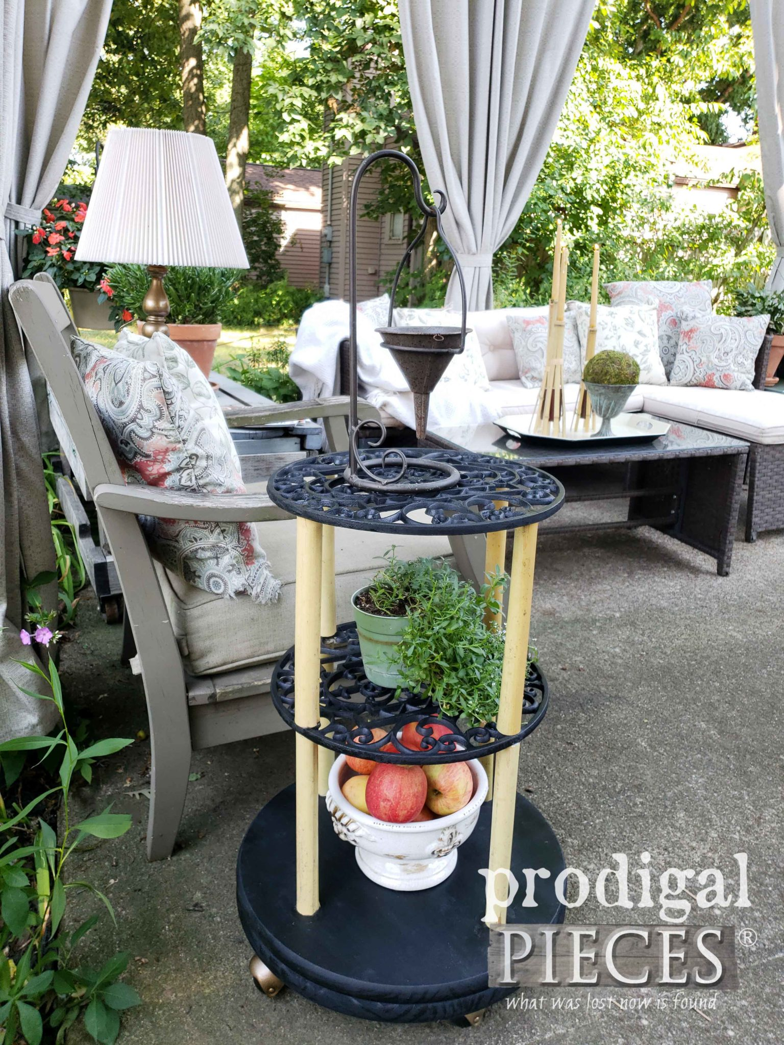 Upcycled Side Table Made from Cast-Off Plant Caddy's and Bamboo Torch | Repurposing Fun at Prodigal Pieces | prodigalpieces.com