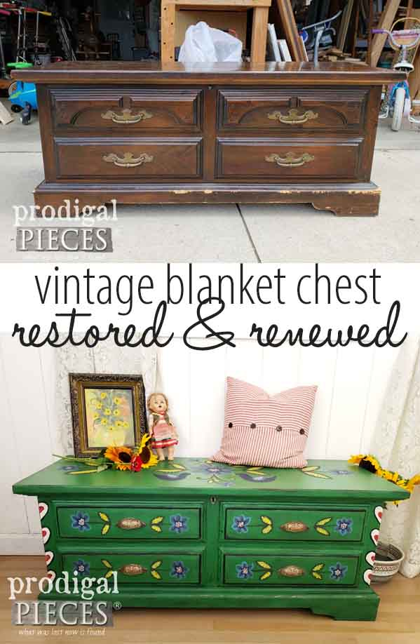 Who knew a chewed up vintage blanket chest could look so good?! Rebuilt from the bottom up and given a folk art flair, this piece tells a story. DIY details by Larissa at Prodigal Pieces | prodigalpieces.com #prodigalpieces #homedecor #diy #farmhouse #handmade #furniture