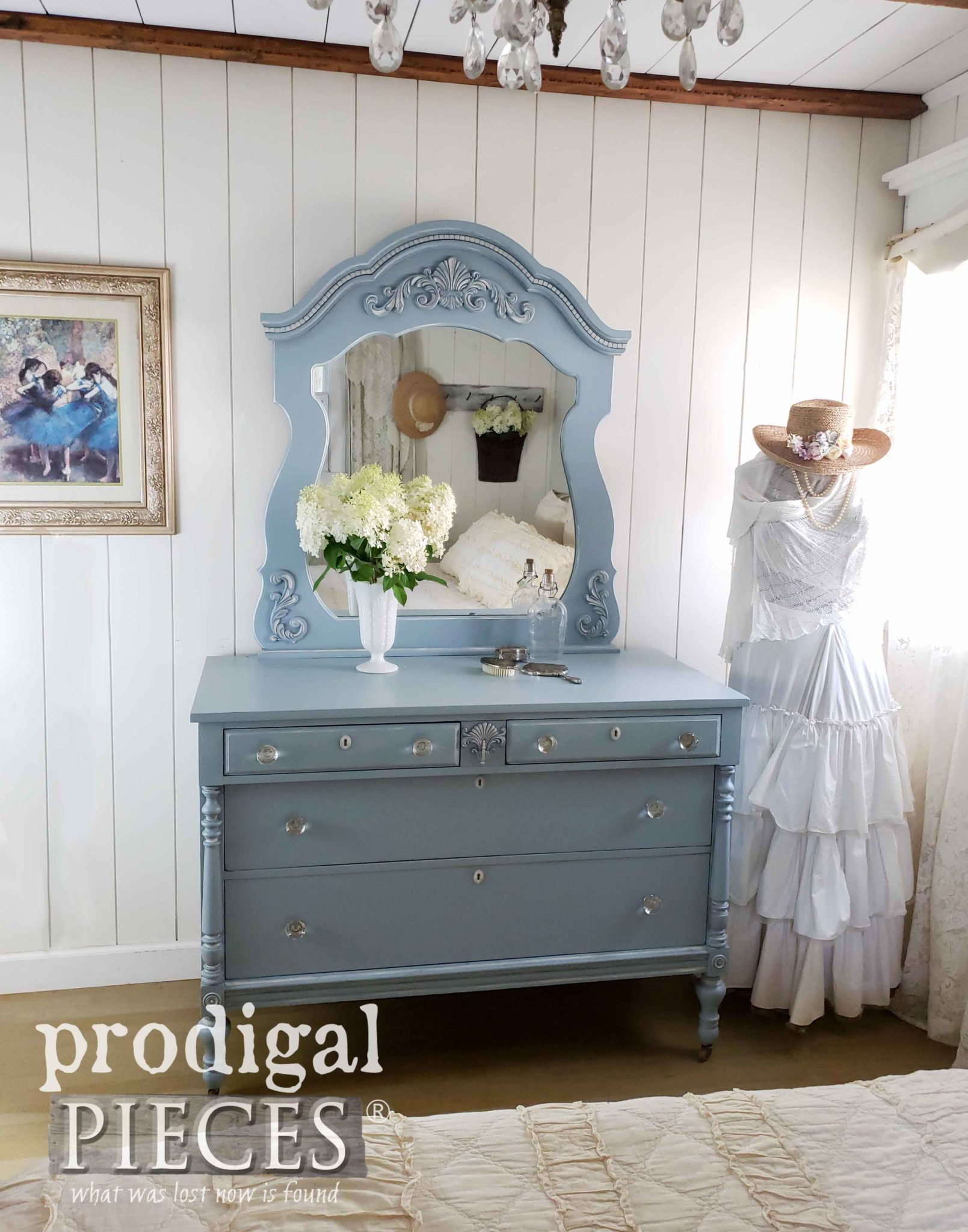 Vintage Blue Mirrored Dresser with Glass Knobs | Made New by Larissa of Prodigal Pieces | prodigalpieces.com