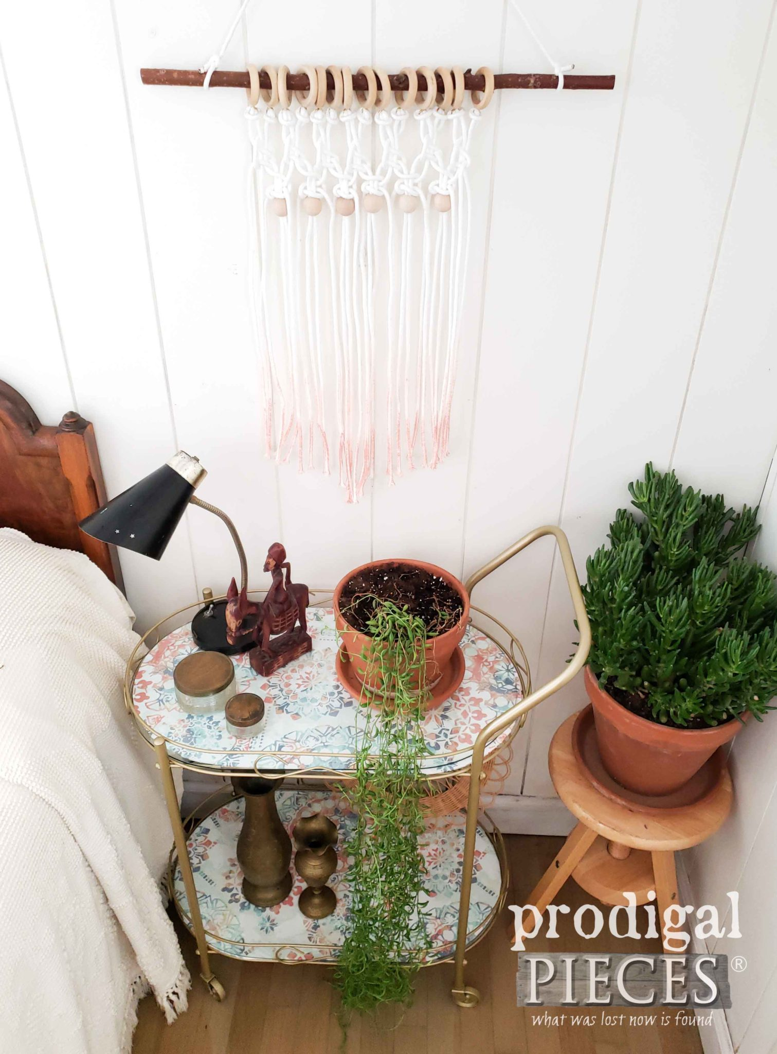 Vintage Bohemian Chic Bedside Cart by Larissa of Prodigal Pieces | prodigalpieces.com